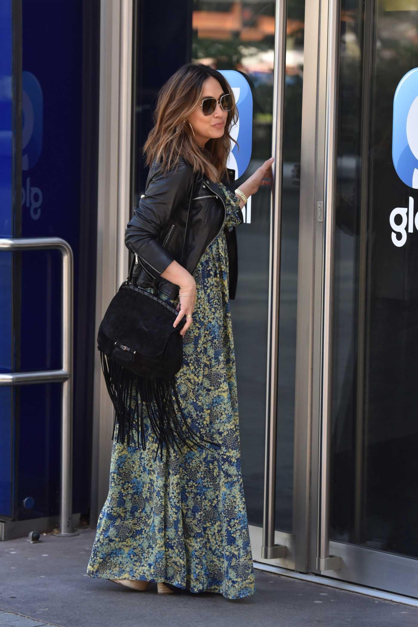 Myleene Klass in a Black Leather Jacket Leaves the Global Studios in London 04/23/2020