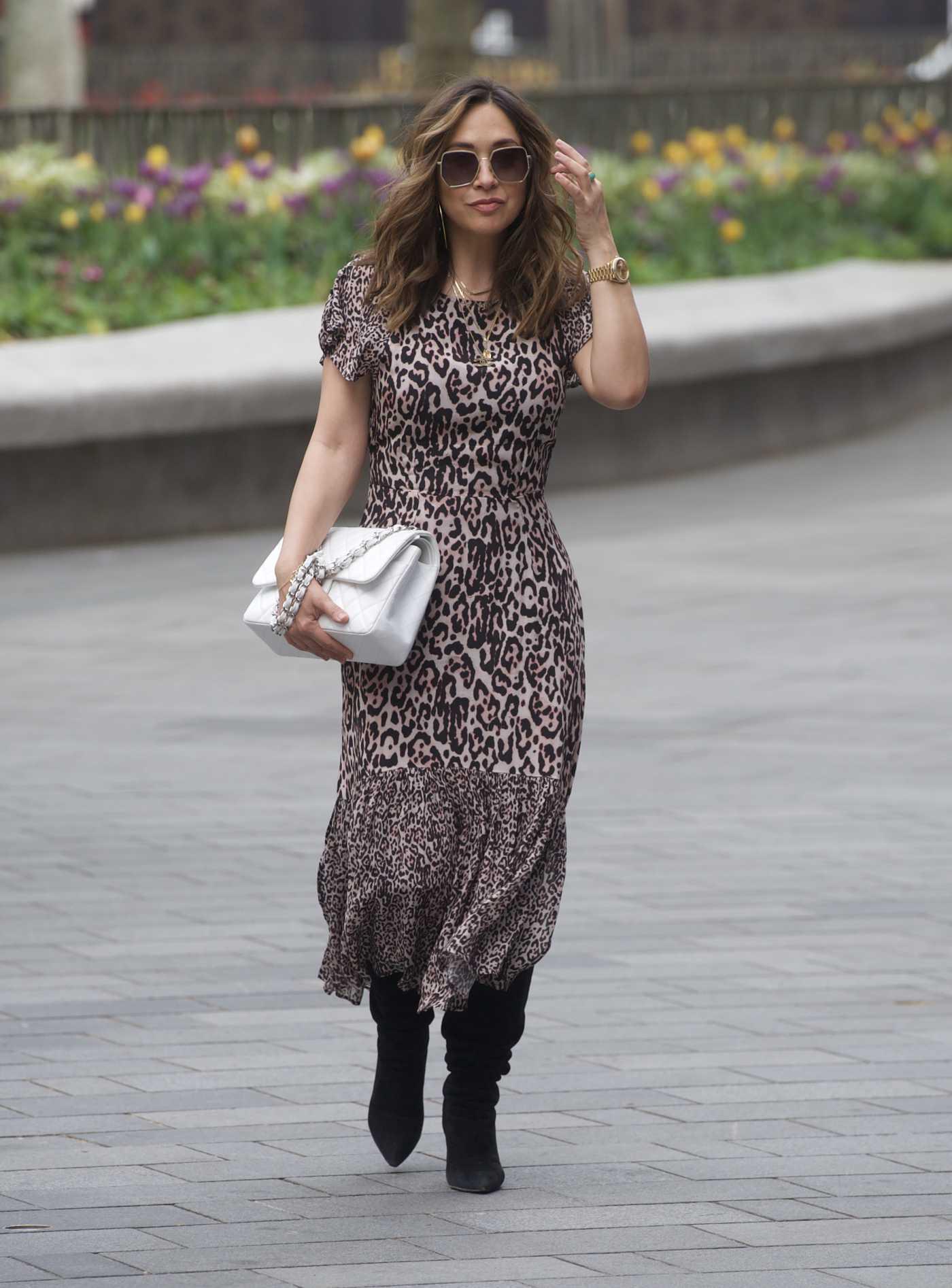 Myleene Klass in an Animal Print Dress Arrives at the Global Radio in London 04/27/2020
