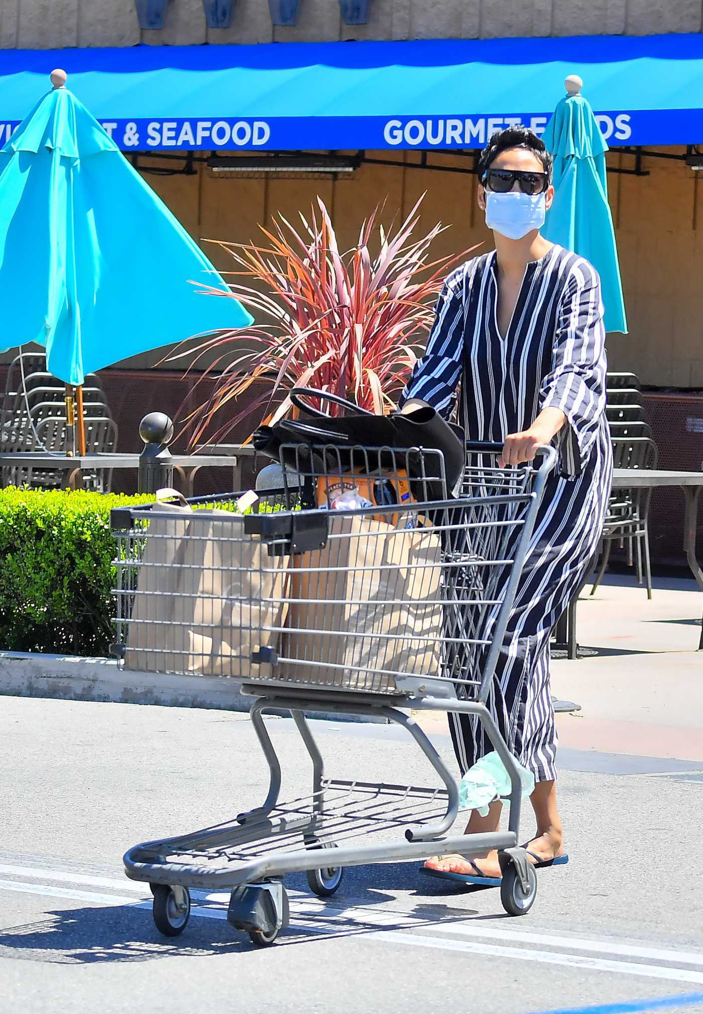 Nicole Murphy in a Striped Dress Goes Shopping During the COVID-19 Lockdown in Studio City 04/26/2020