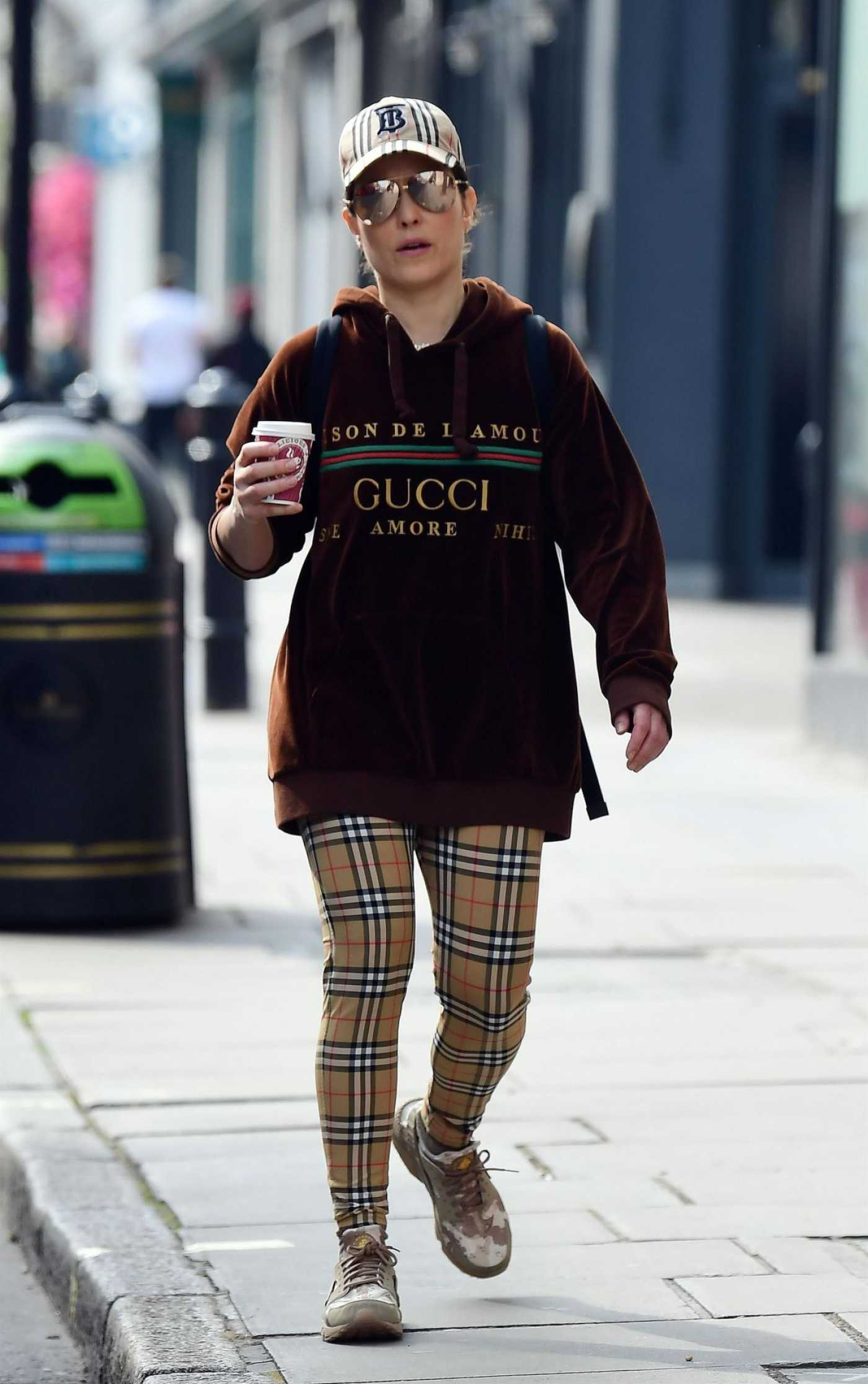 Noomi Rapace in a Plaid Pants Goes Shopping at Planet Organic in London 04/09/2020
