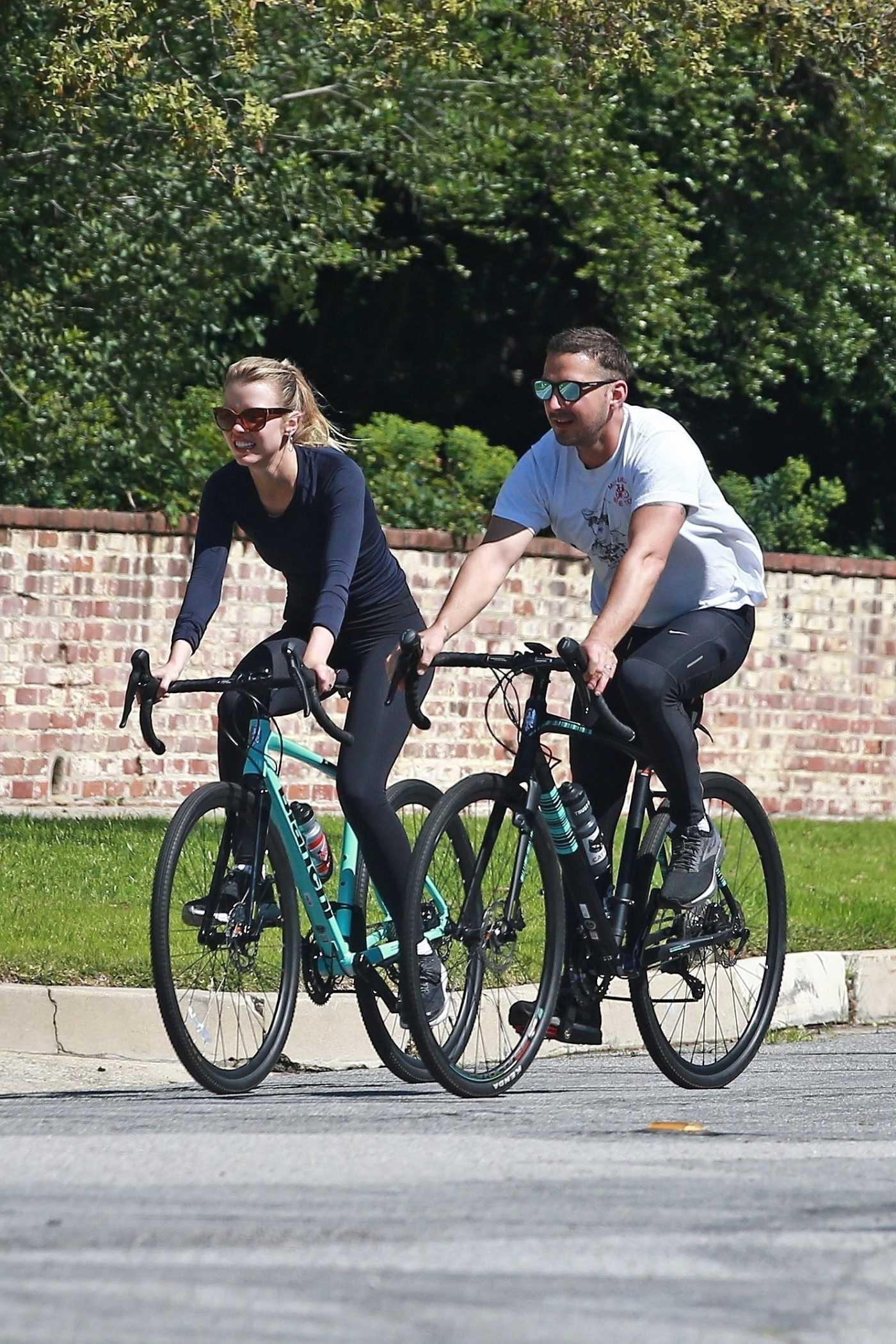 Shia LaBeouf Enjoys a Bike Ride Out wit Mia Goth in Pasadena 04/01/2020