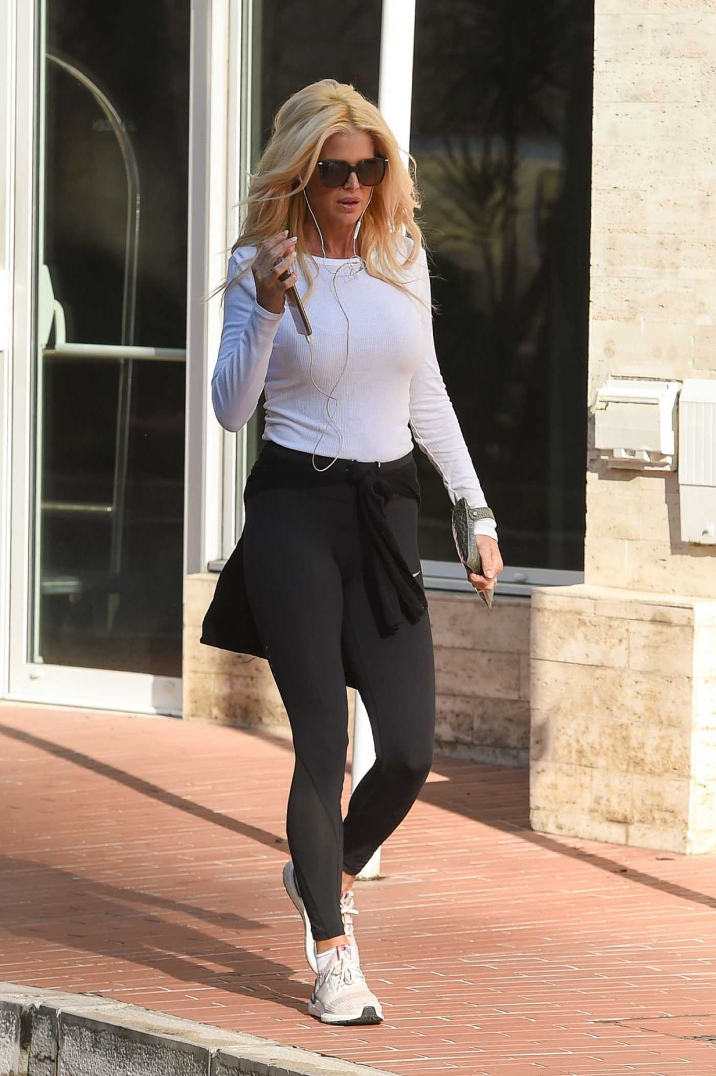 Victoria Silvstedt in a Black Leggings Was Seen Out in Monaco 04/07/2020