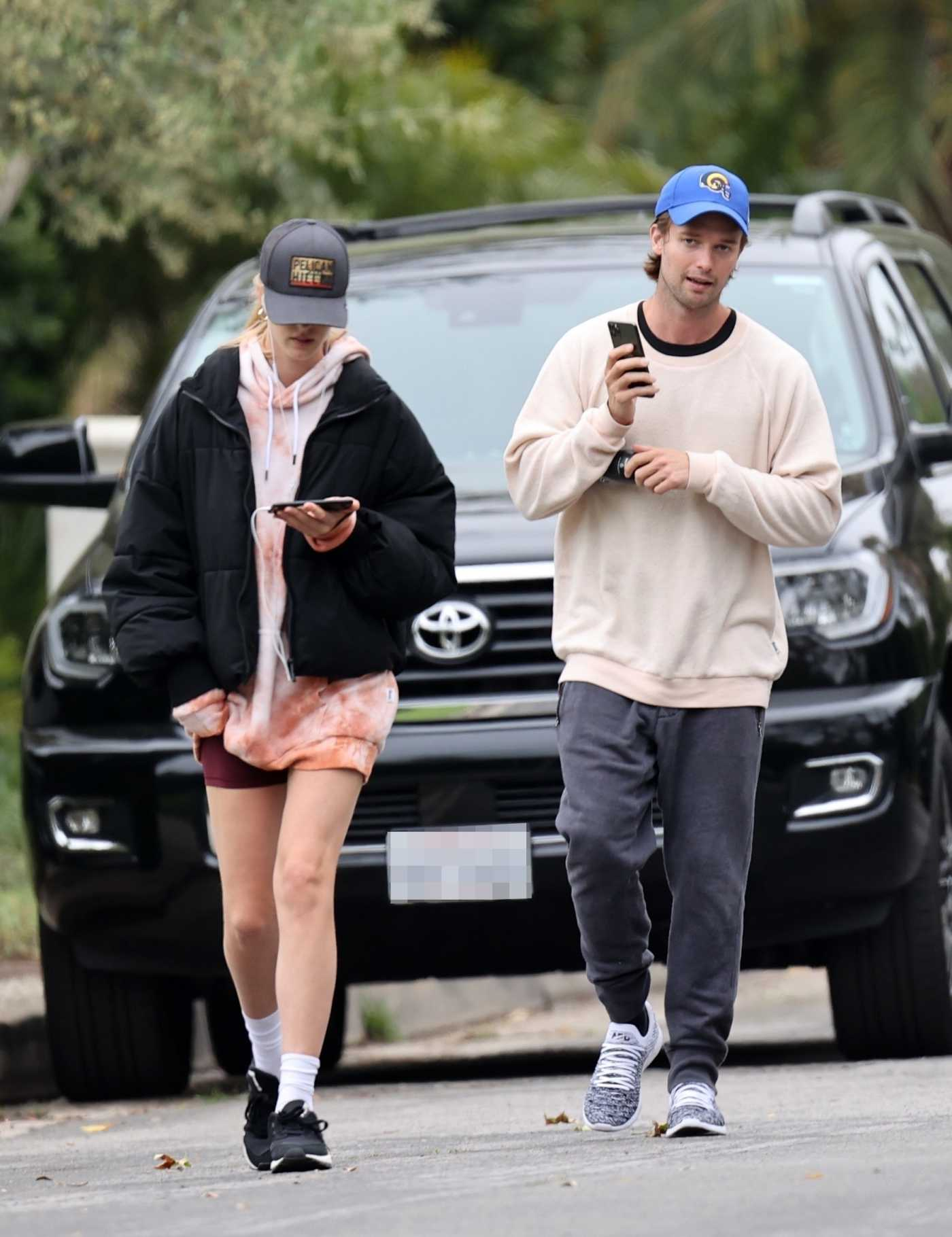 Abby Champion in a Black Sneakers Was Seen Out with Patrick Schwarzenegger in Los Angeles 04/30/2020