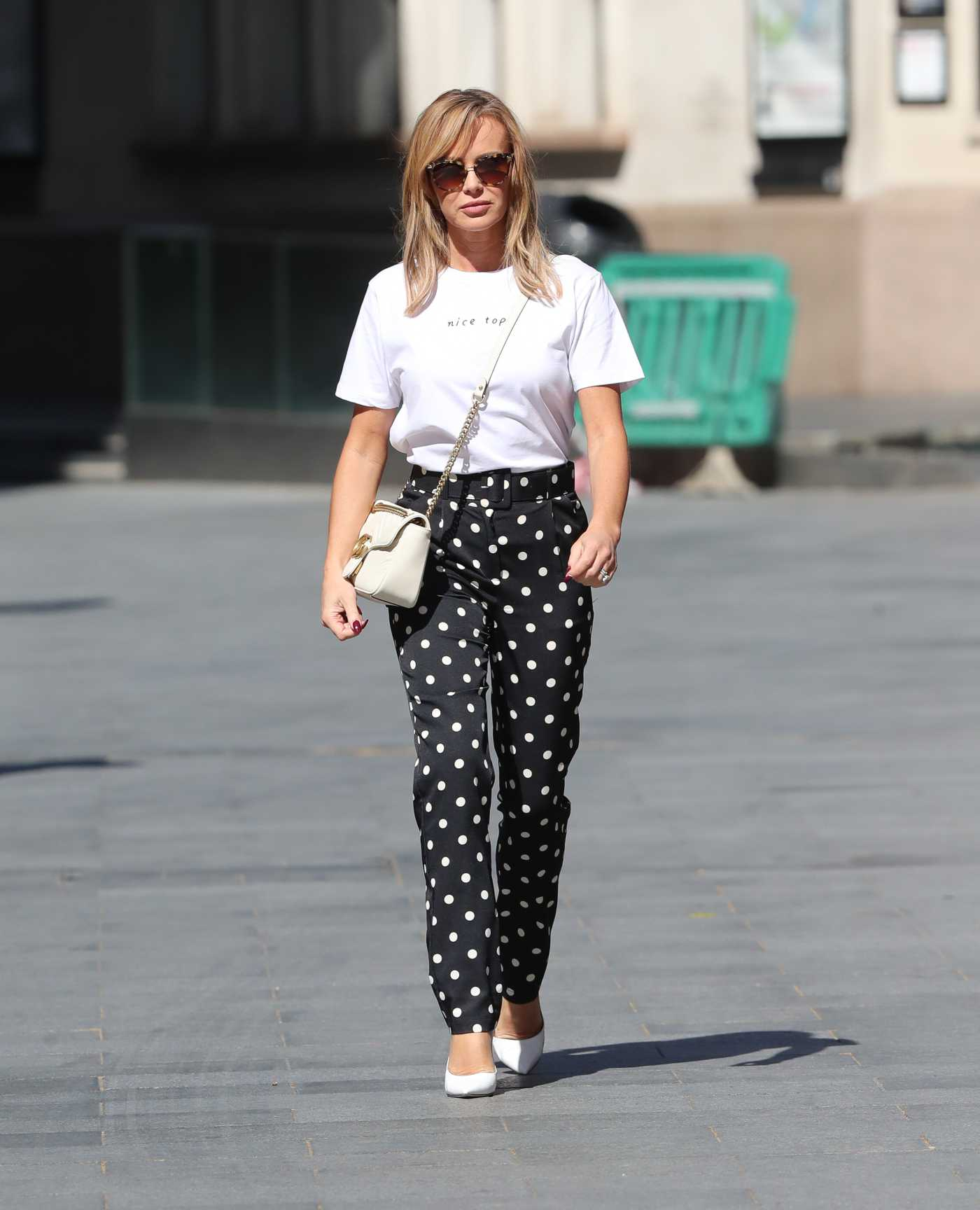 Amanda Holden in a Black Polka Dot Trousers Leaves the Heart Radio in London 05/14/2020