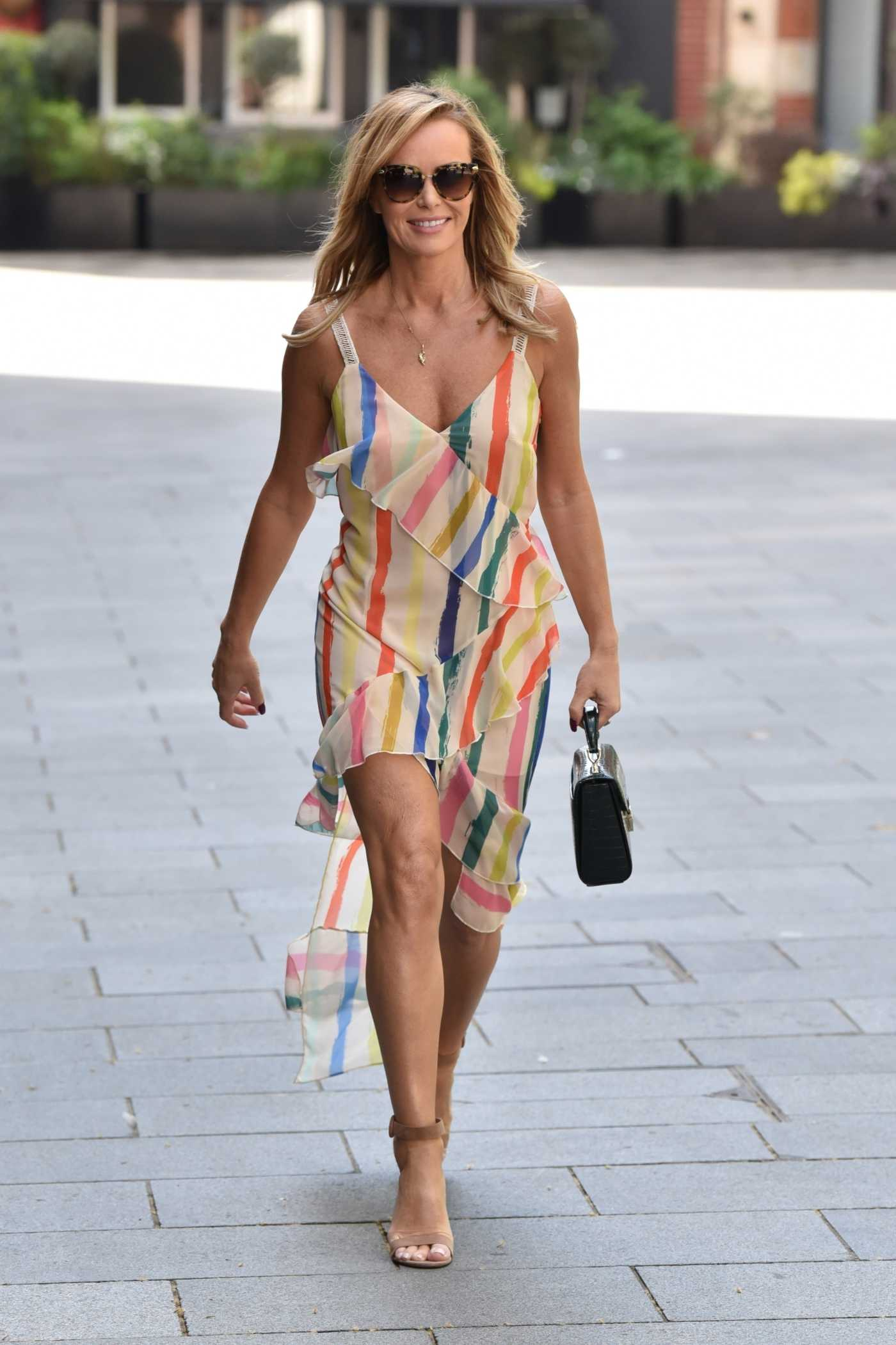 Amanda Holden in a Revealing Summer Dress Leaves the Heart Radio Studios in London 05/06/2020