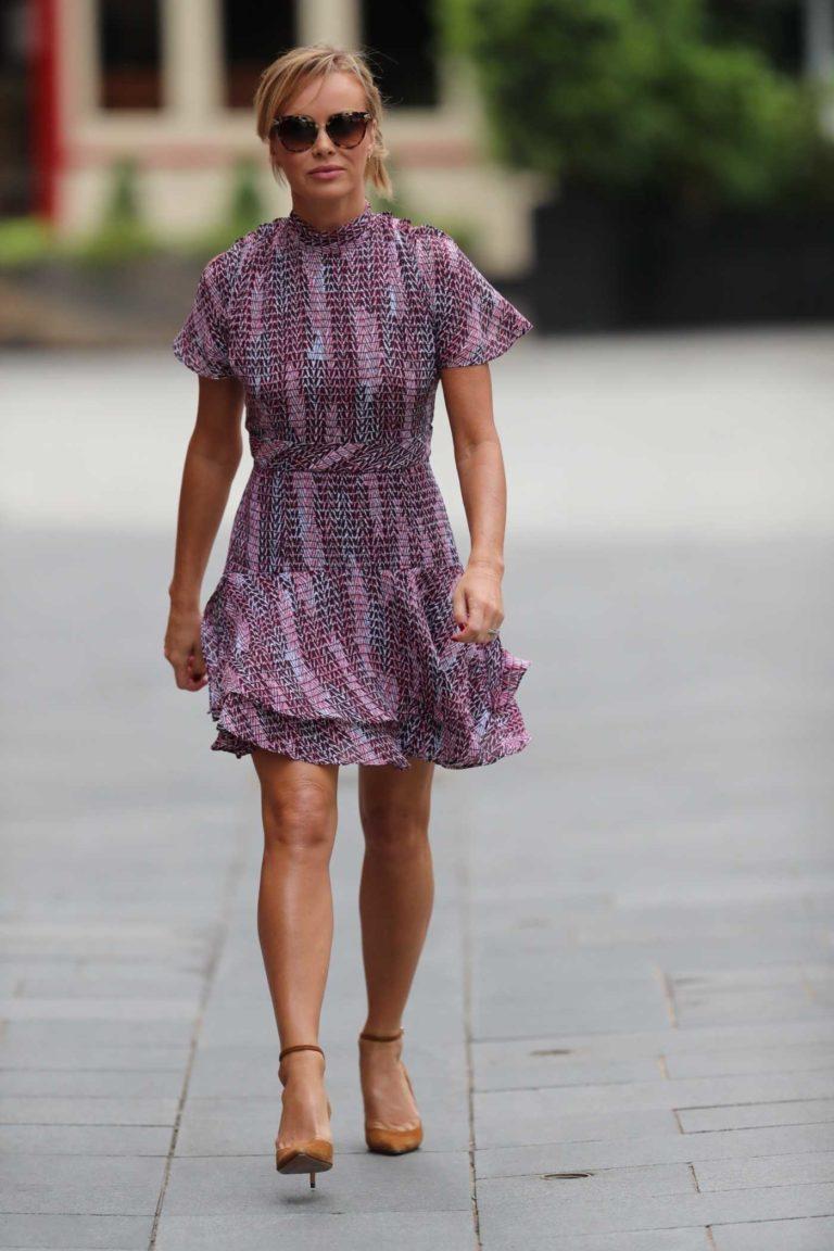 Amanda Holden in a Short Purple Dress
