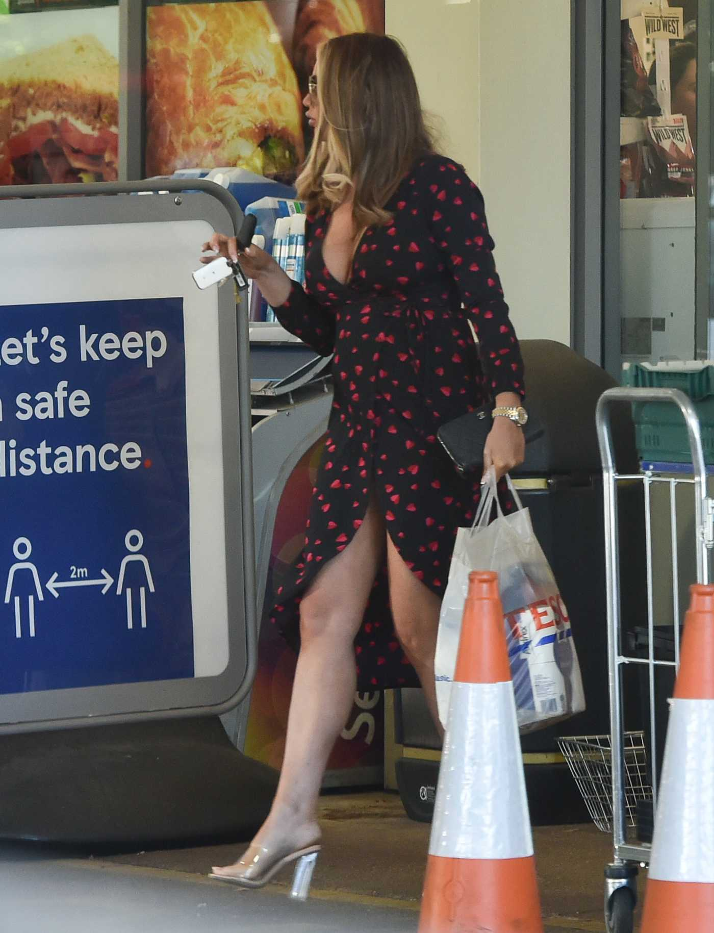 Amy Childs in a Black Dress Goes Shopping at Tesco in Brentwood 05/26/2020