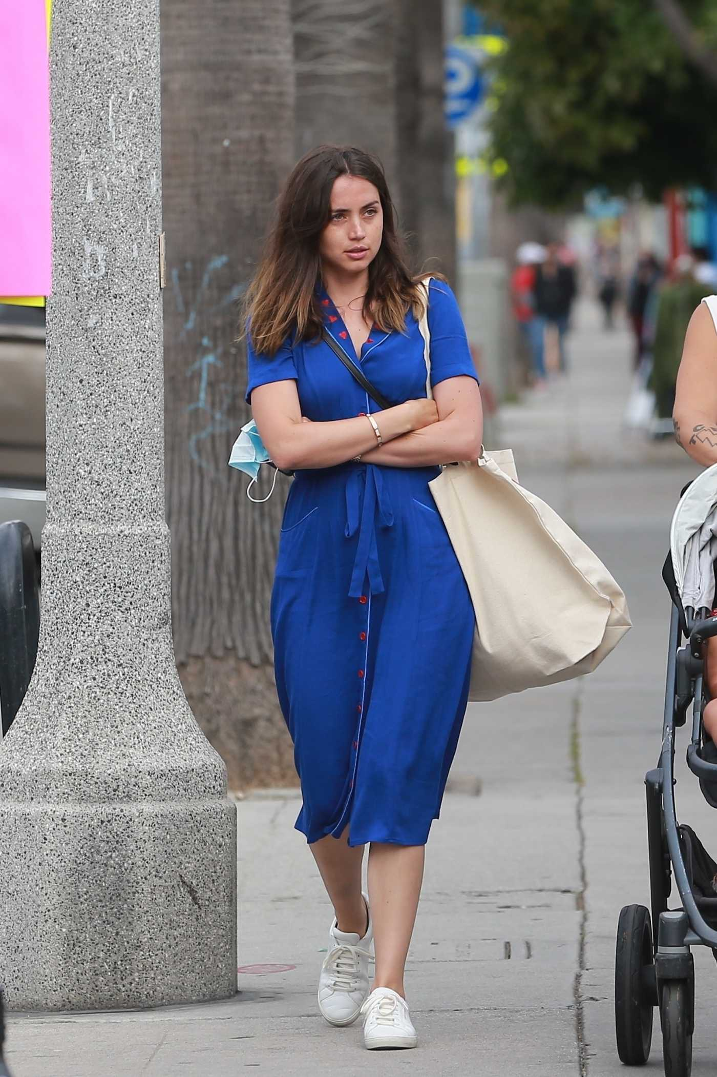 Ana de Armas in a Blue Dress Goes Shopping with a Friend at a Local Aviator Nation Store in Venice Beach 05/26/2020