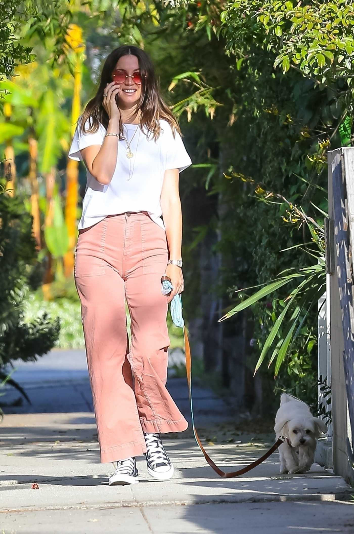 Ana de Armas in a White Tee Walks Her Dog in Venice Beach 05/07/2020