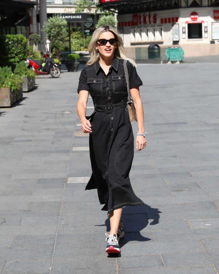 Ashley Roberts in a Black Denim Dress