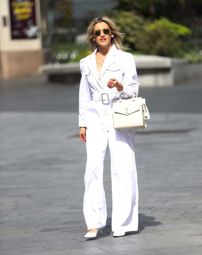 Ashley Roberts in a White Jumpsuit