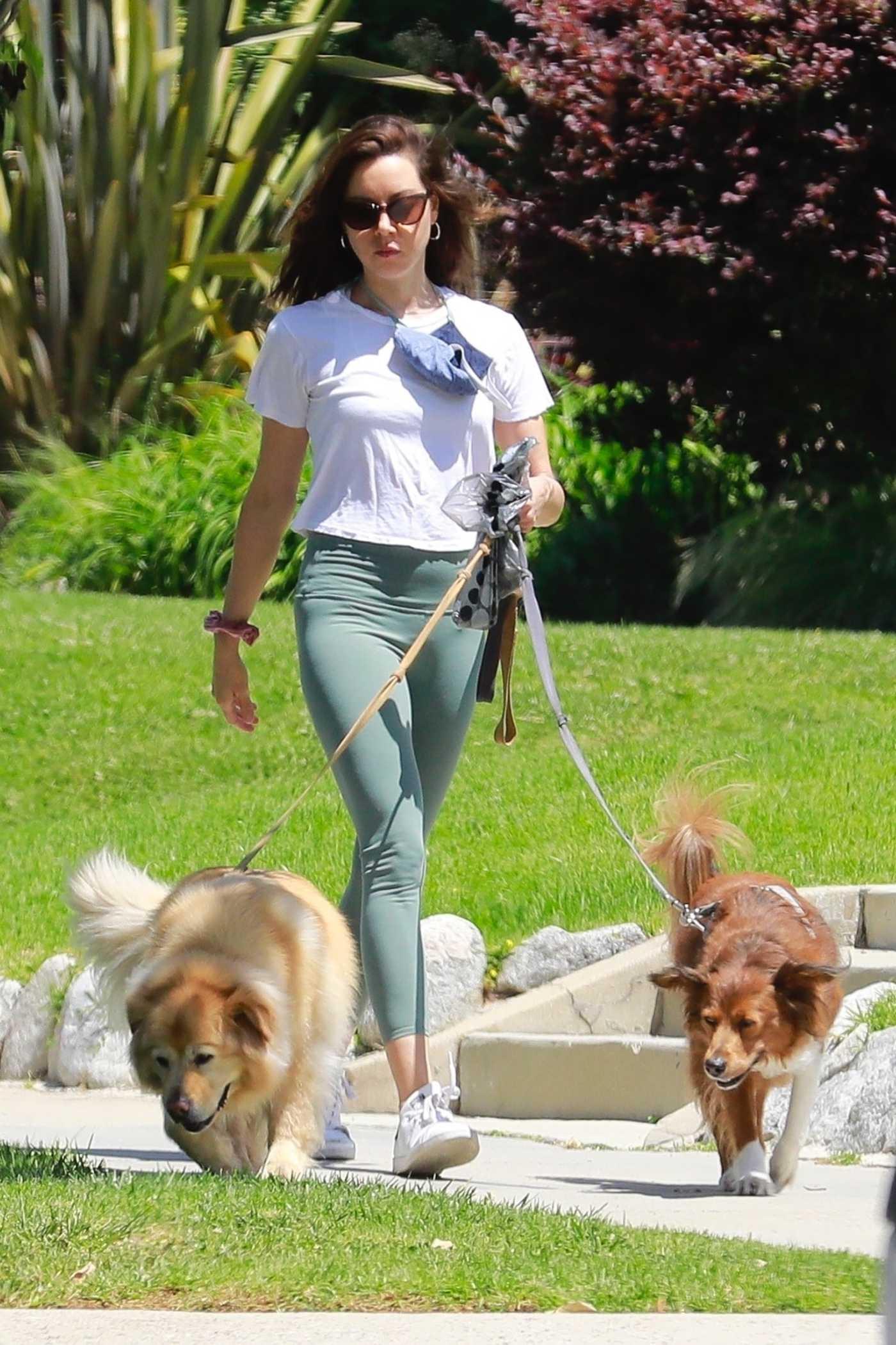 Aubrey Plaza in a White Tee Walks Her Dogs in Los Feliz 05/03/2020