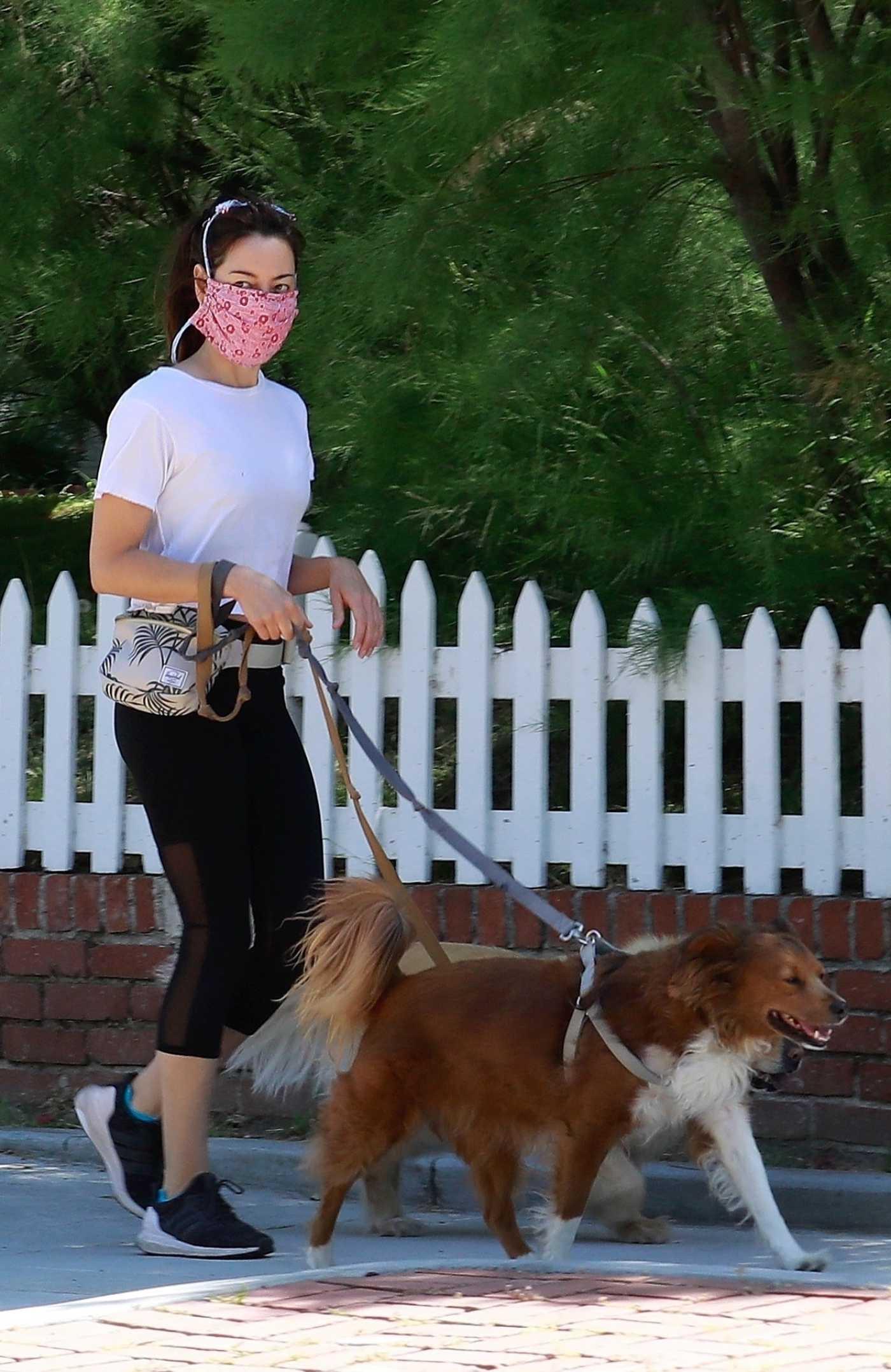 Aubrey Plaza in a White Tee Walks Her Dogs in Los Feliz 05/16/2020