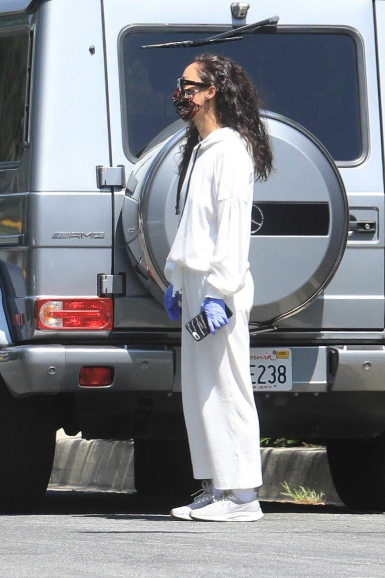 Cara Santana in a White Sweatsuit