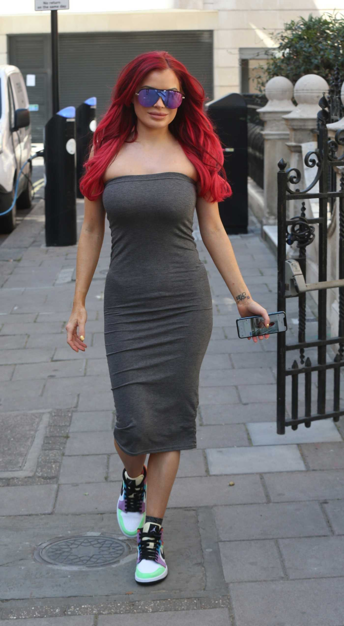 Carla Howe in a Grey Strapless Dress Was Seen Out in London 05/29/2020