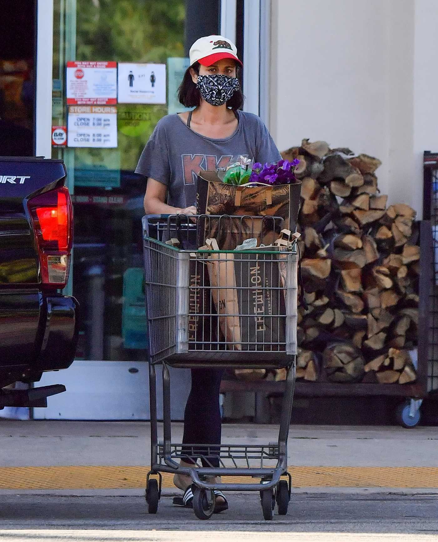 Catherine Bell in a Face Mask Goes Shopping in Calabasas 05/04/2020