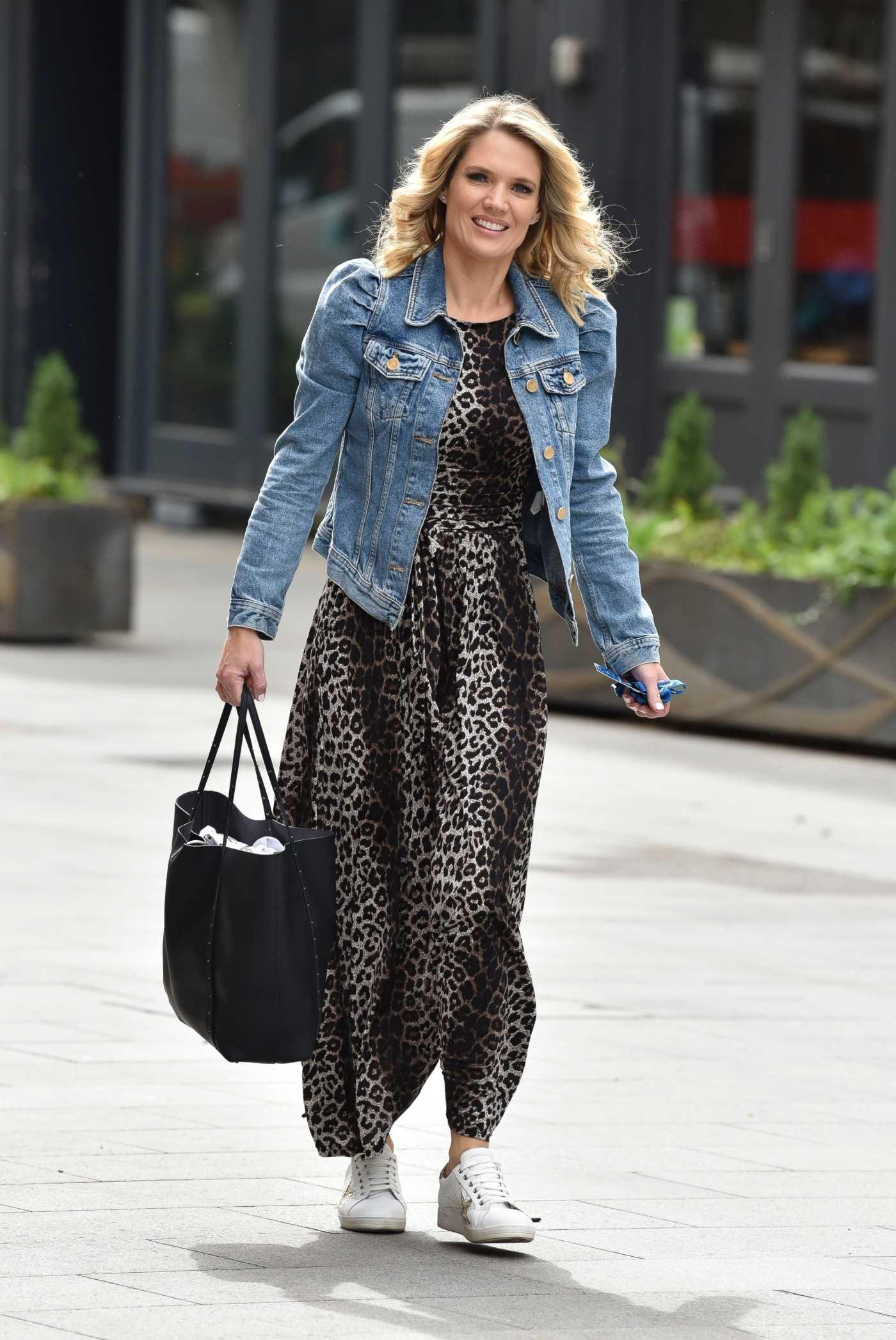 Charlotte Hawkins in a Leopard Print Dress Arrives at the Global Radio Studios in London 05/22/2020