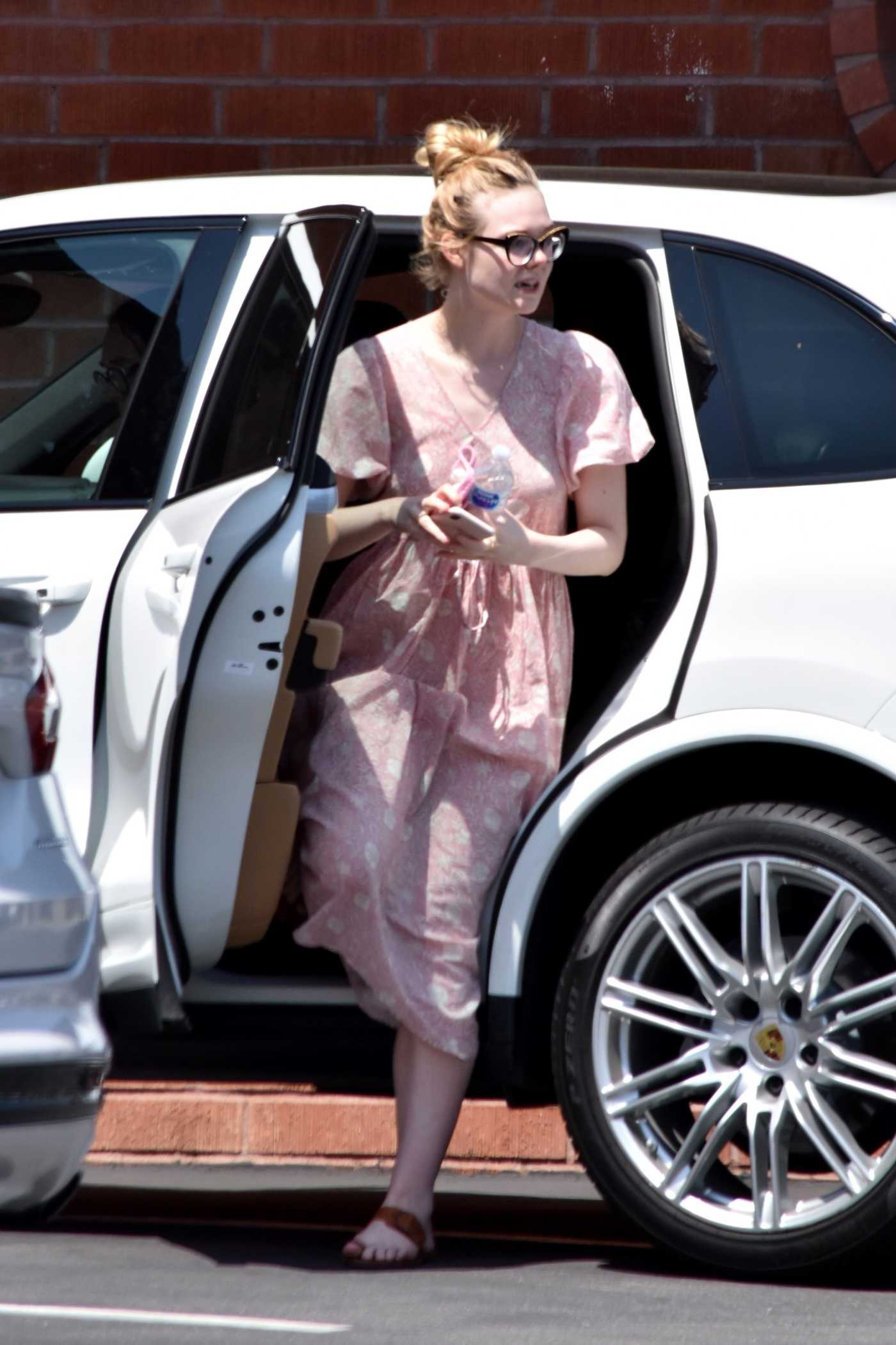 Elle Fanning in a Pink Floral Dress Was Seen Out in Santa Monica 05/09/2020