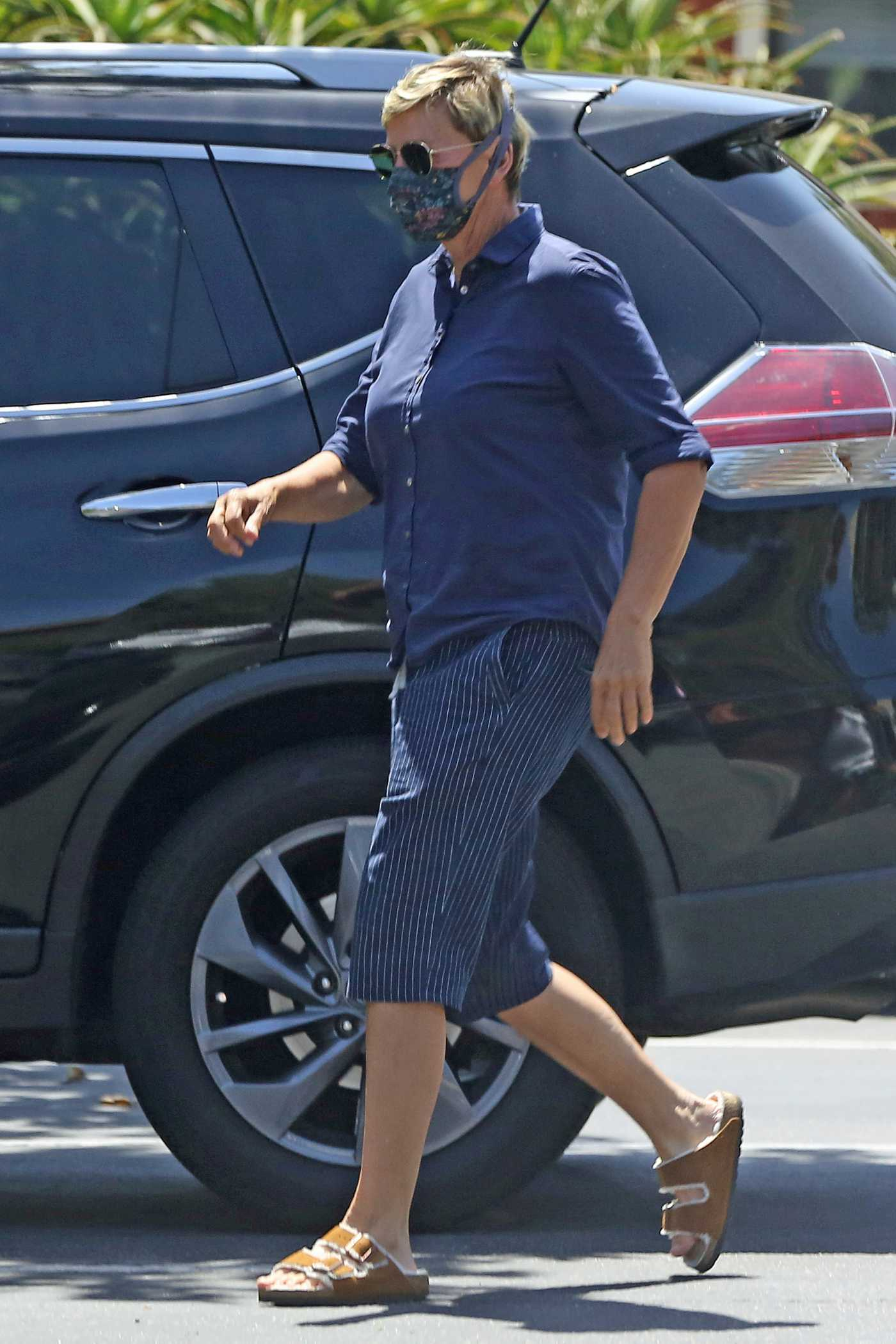 Ellen DeGeneres in a Blue Shirt Was Seen Out with Portia DeRossi in Santa Barbara 05/23/2020