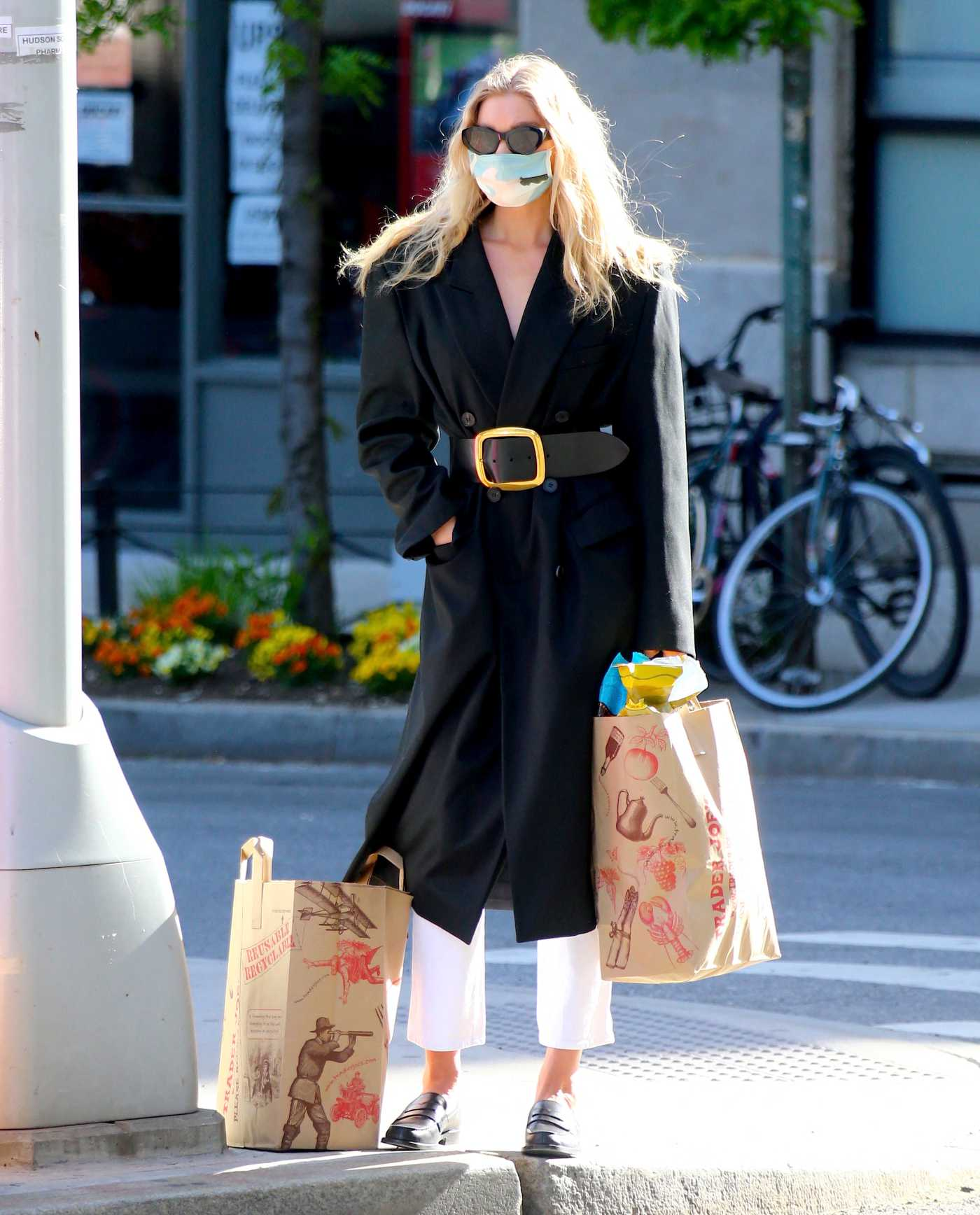Elsa Hosk in a Black Coat Goes Shopping in Soho, New York 05/20/2020