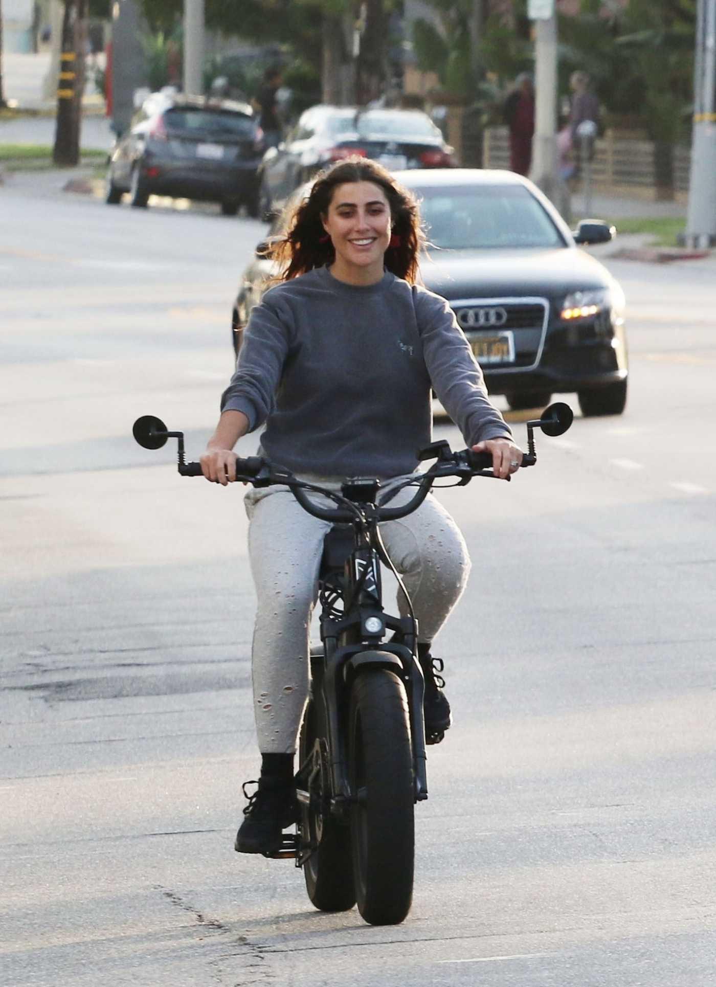 Emma Slater in a Gray Sweatshirt Does a Bike Ride in Los Angeles 05/07/2020