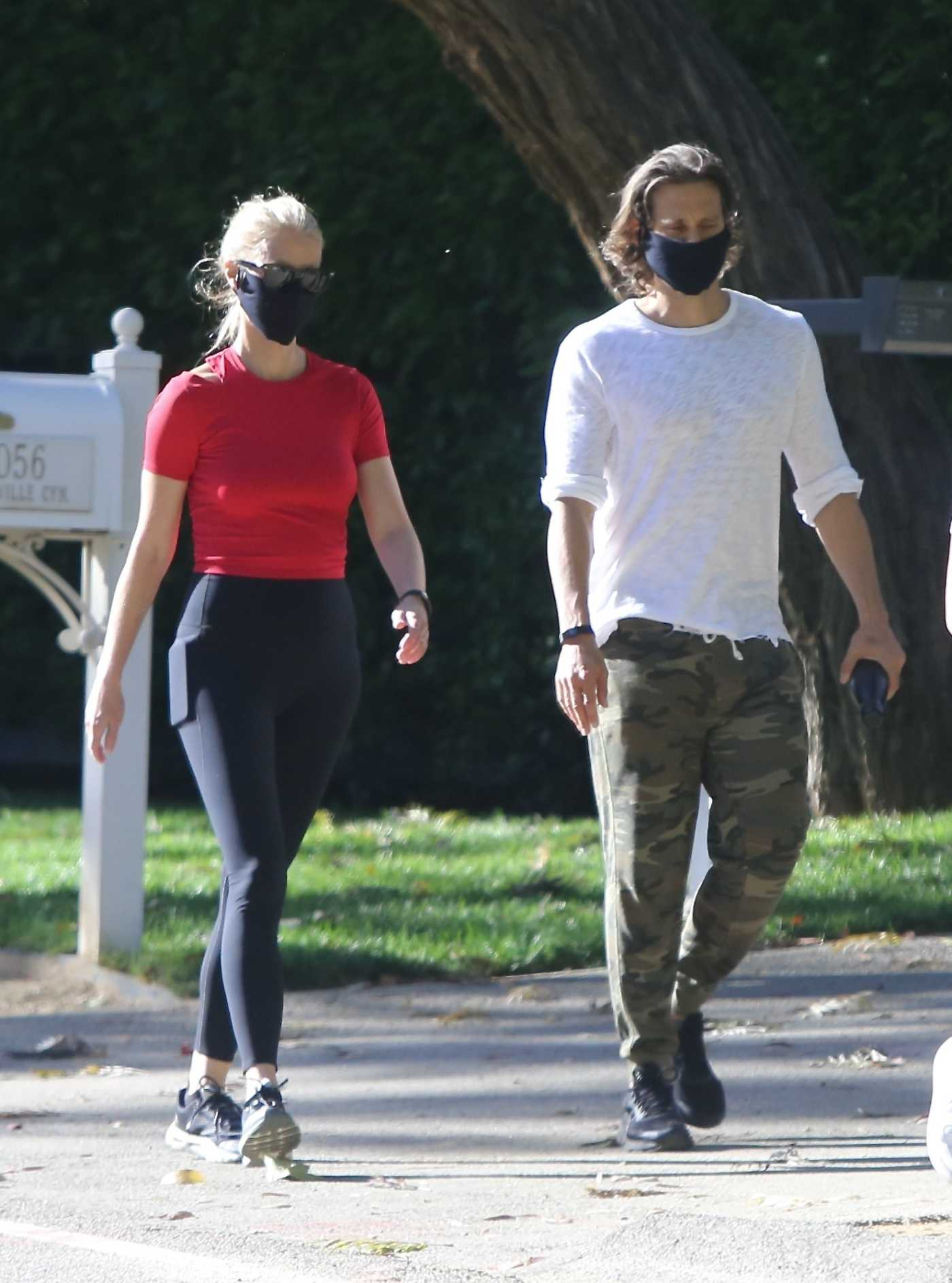 Gwyneth Paltrow in a Red Top Was Seen Out with Her Husband Brad Falchuk in Pacific Palisades 05/02/2020