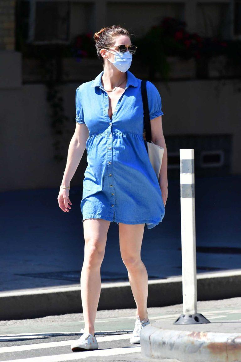 Hilary Rhoda in a Denim Dress