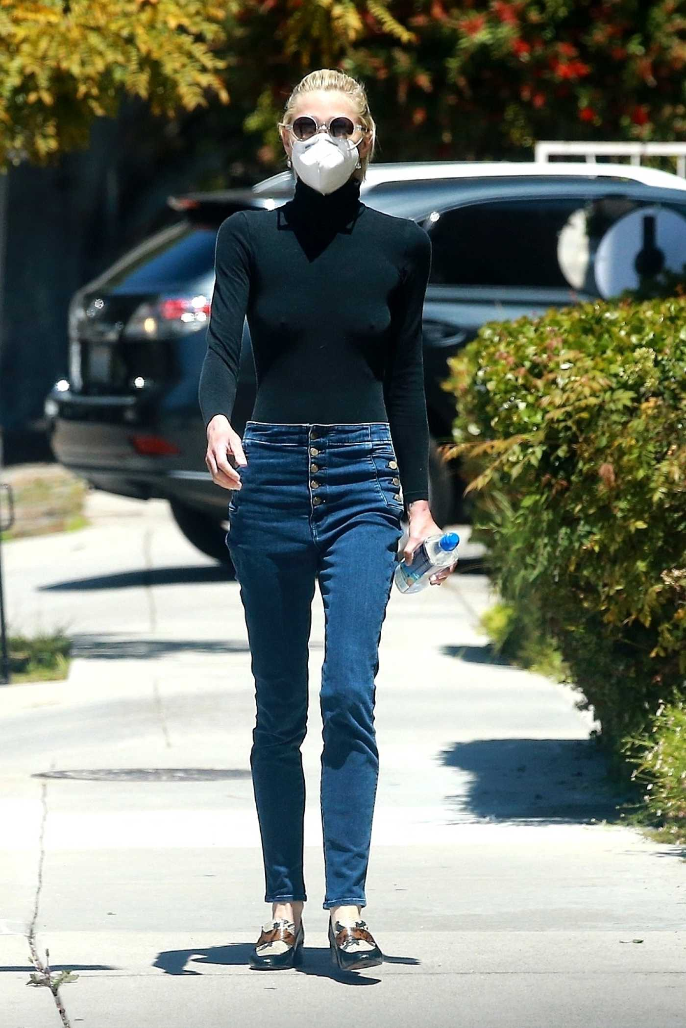Jaime King in a Black Turtleneck Leaves a Medical Building in Santa Monica 05/19/2020