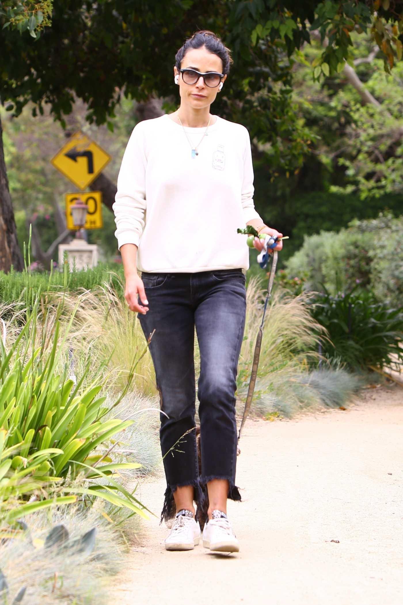 Jordana Brewster in a White Sneakers Walks Her Dog in Los Angeles 05/09/2020