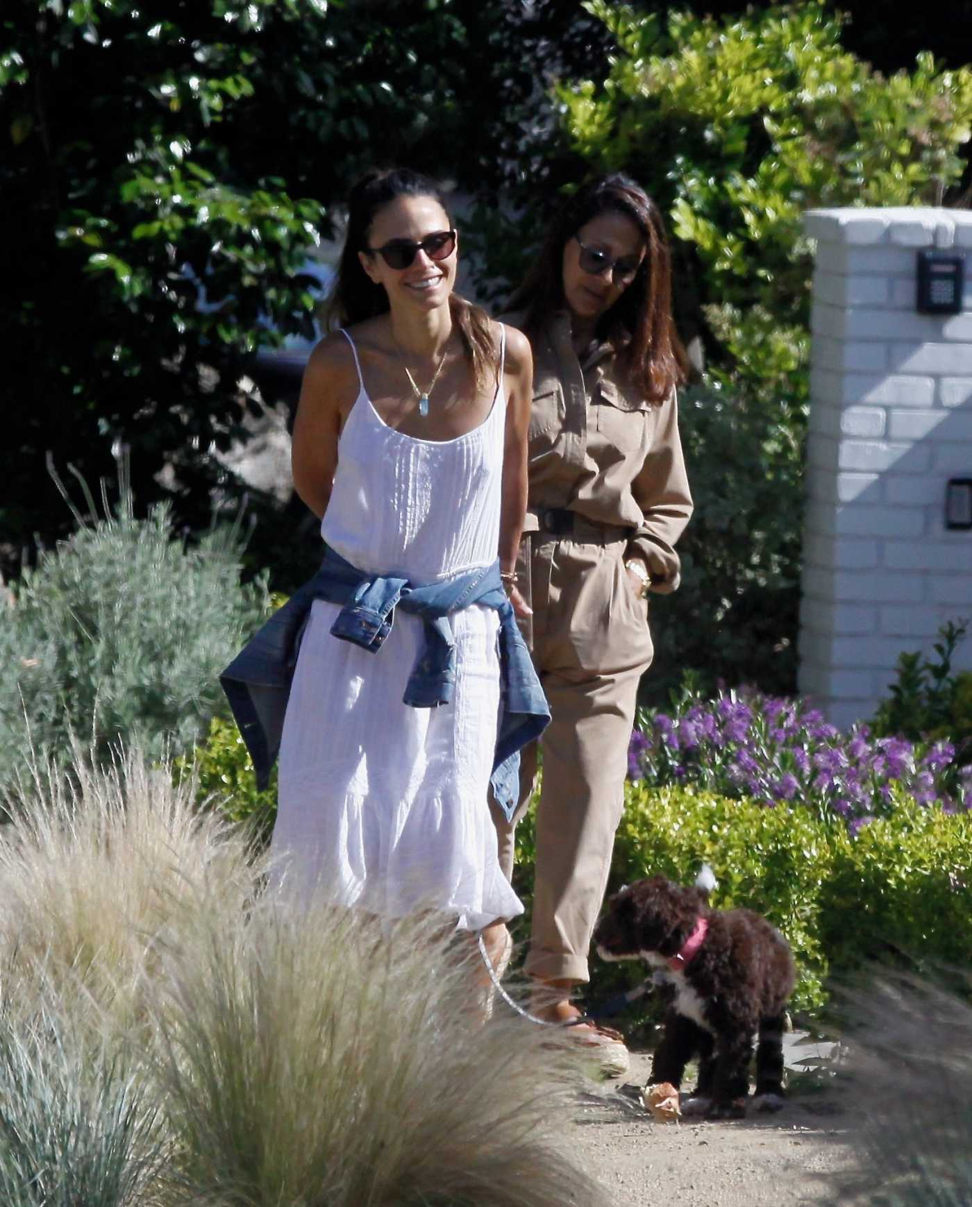 "Jordana Brewster in a White Summer Dress Walks Her New Puppy in Pacific Palisades"" 05/24/2020"
