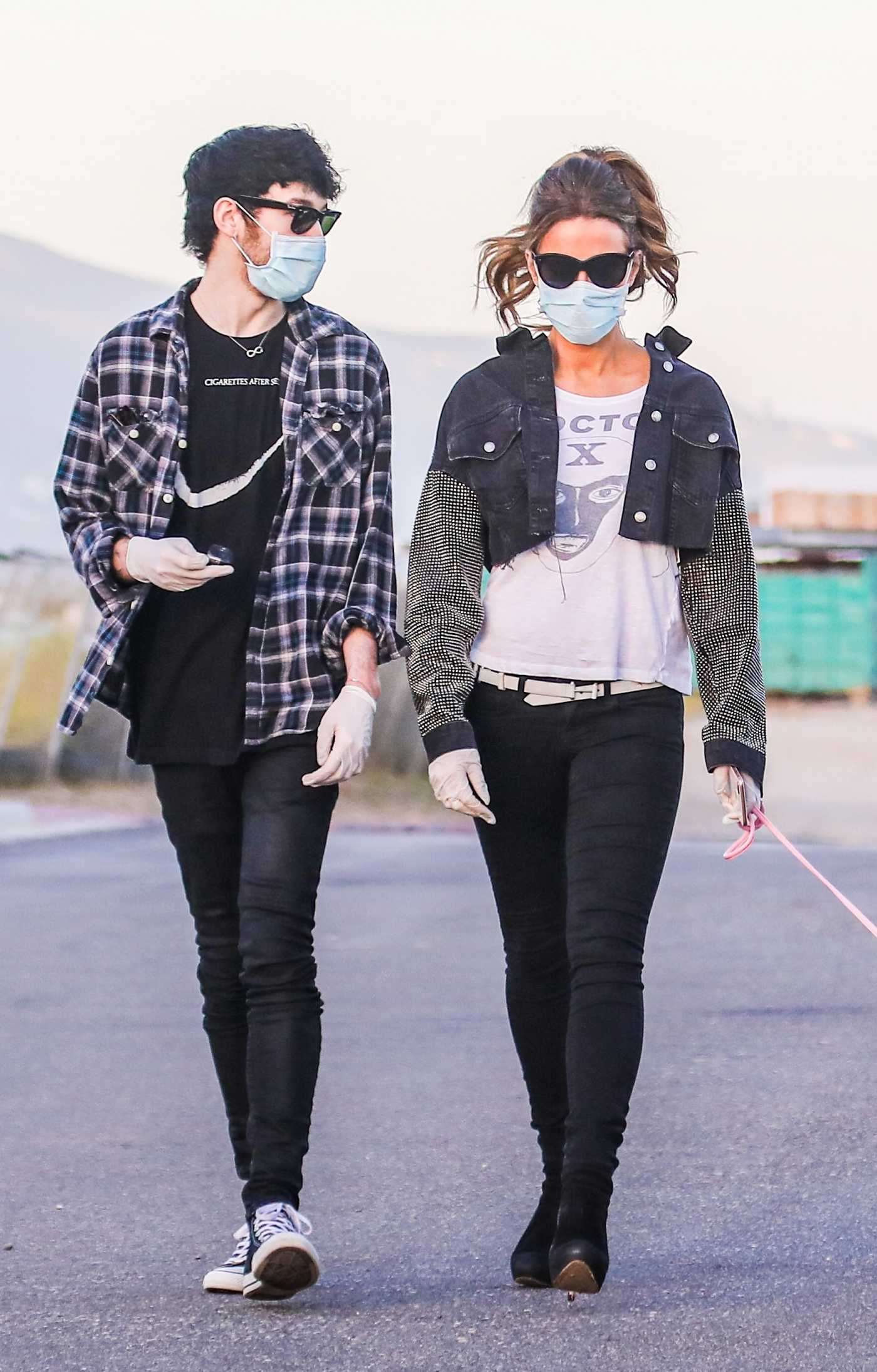 Kate Beckinsale in a Protective Mask Walks Her Dog Out with Boyfriend Goodie Grace in Malibu 05/15/2020
