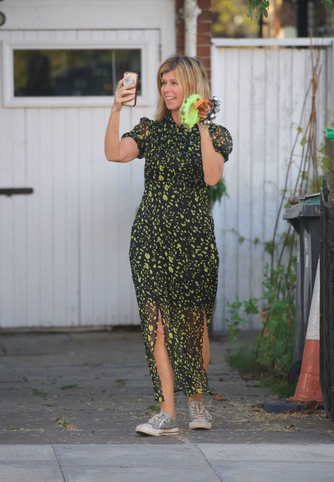 Kate Garraway in a Black Floral Dress Was Seen Out in London 05/23/2020
