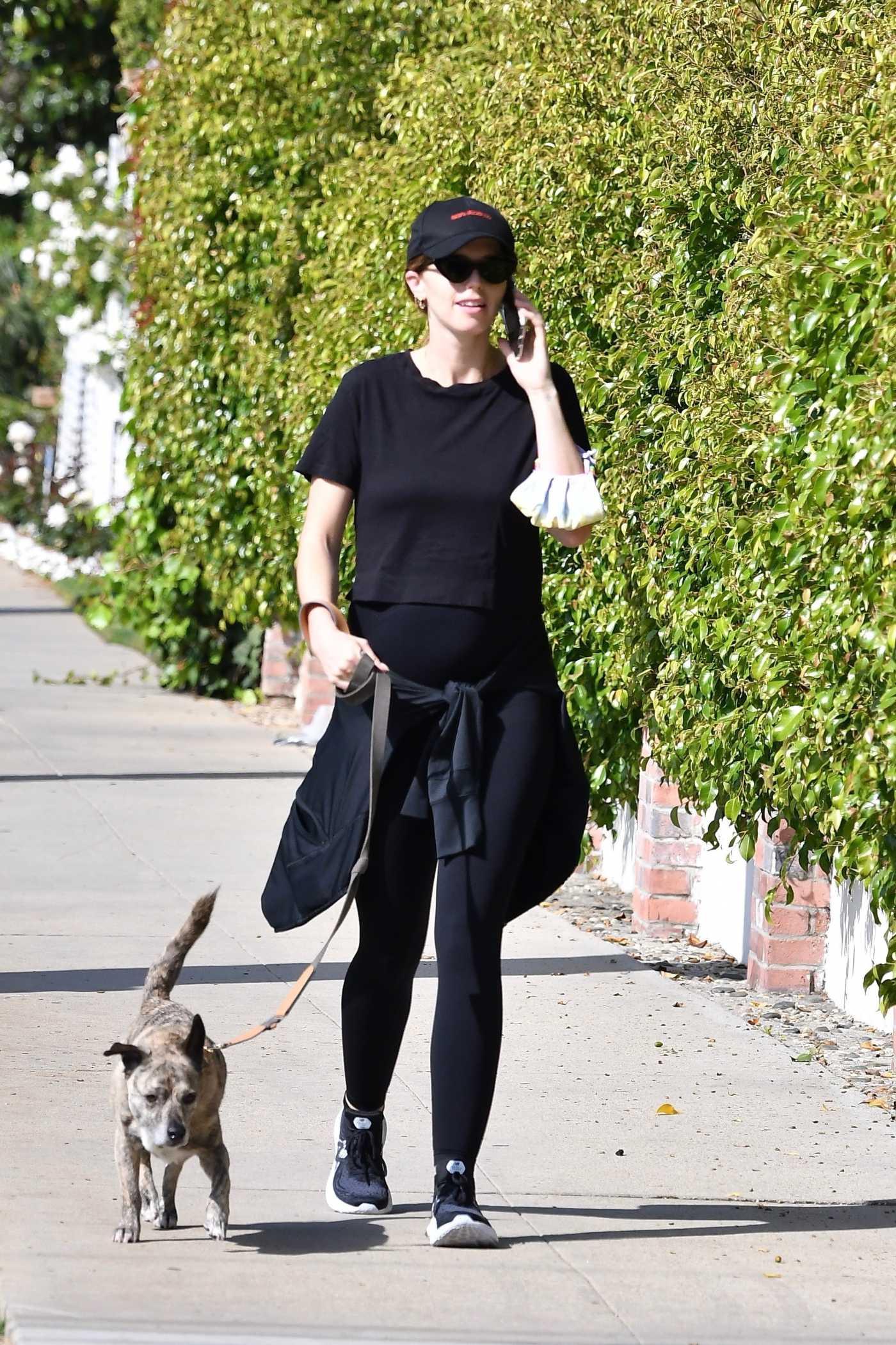Katherine Schwarzenegger in a Black Cap Walks Her Dog in Brentwood 05/02/2020