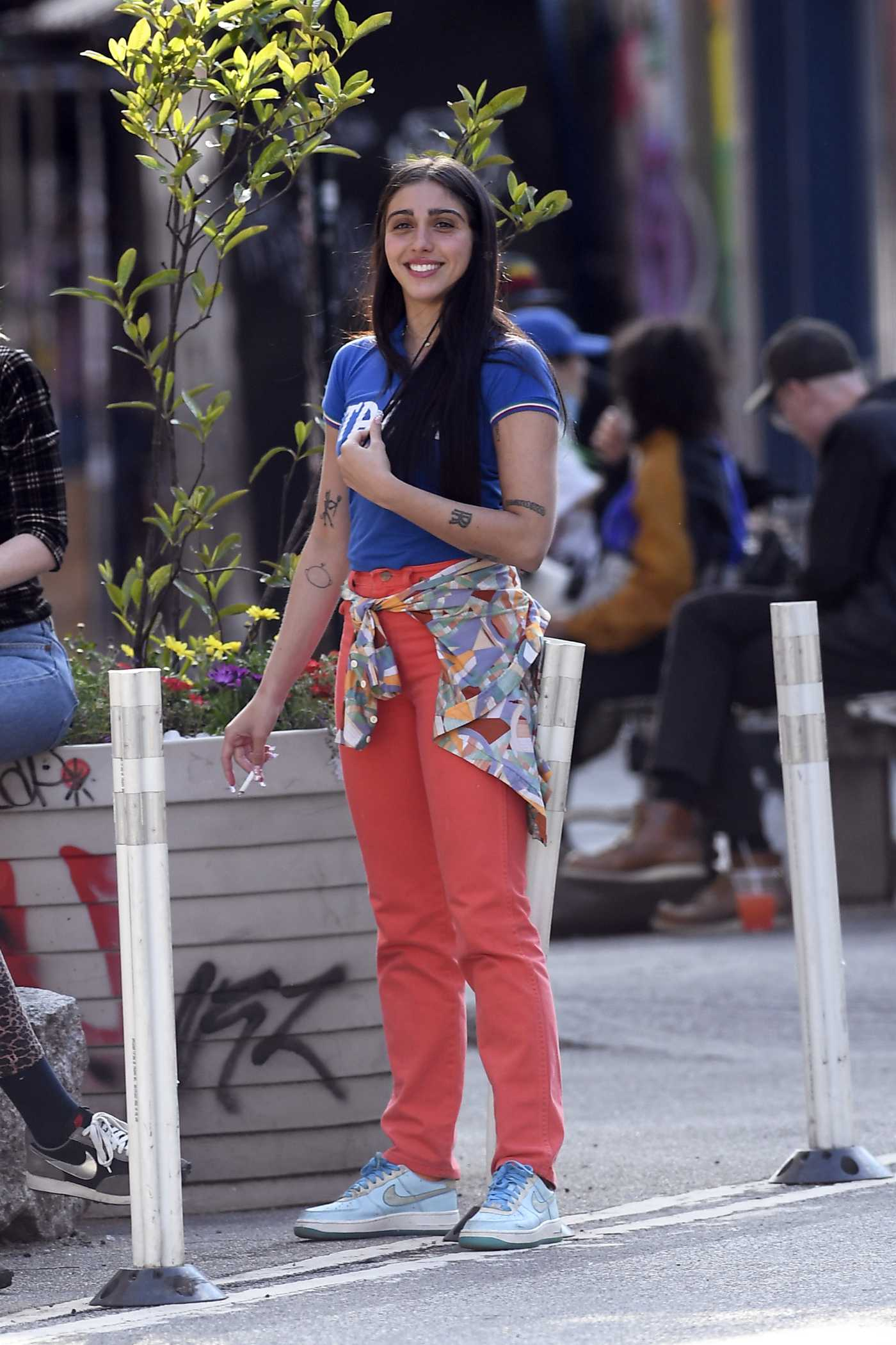 Lourdes Leon in a Red Jeans Was Seen Out with Friends in NYC 05/08/2020