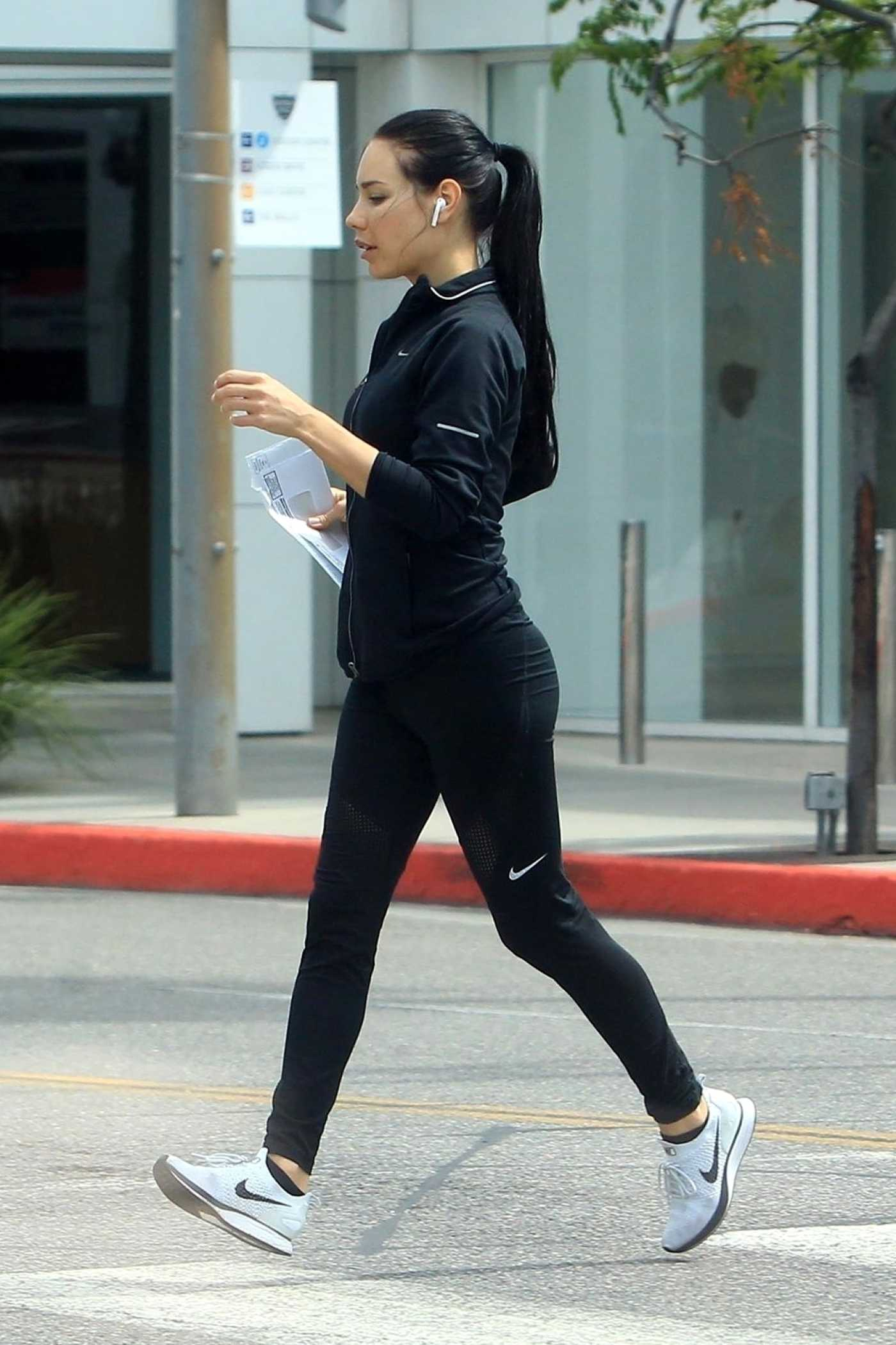 Martha Higareda in a Black Nike Tracksuit Goes Out for a Run in Beverly Hills 05/18/2020