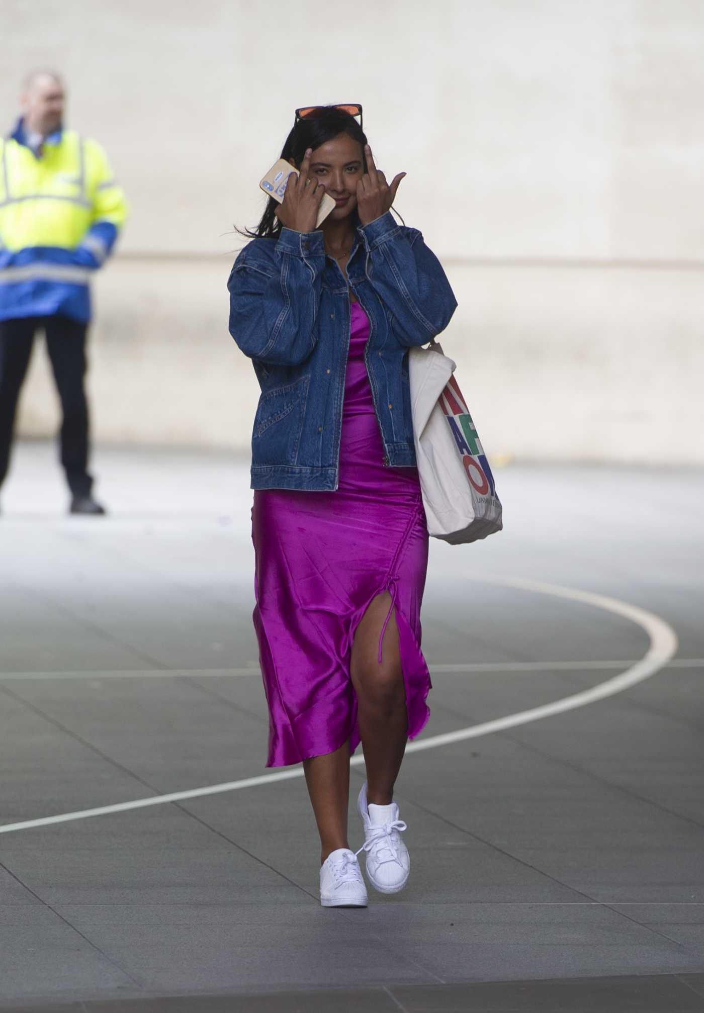 Maya Jama in a Purple Dress Leaves BBC Radio One Studios in London 05/02/2020