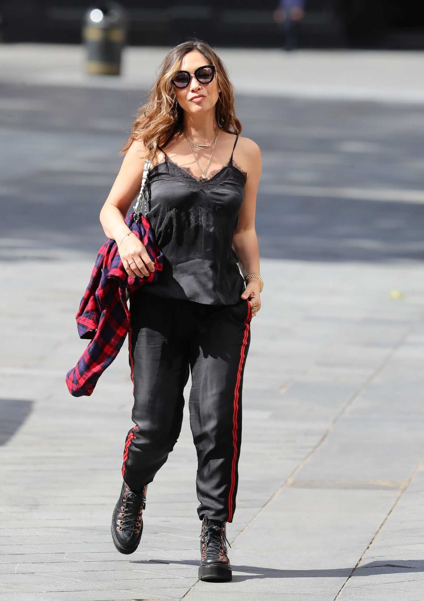 Myleene Klass in a Black Top Arrives at the Global Offices in London 05/23/2020