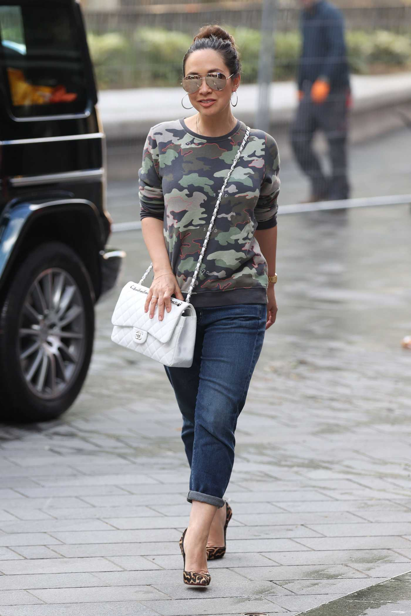 Myleene Klass in a Camo Long Sleeves T-Shirt Arrives at the Smooth Radio in London 05/14/2020