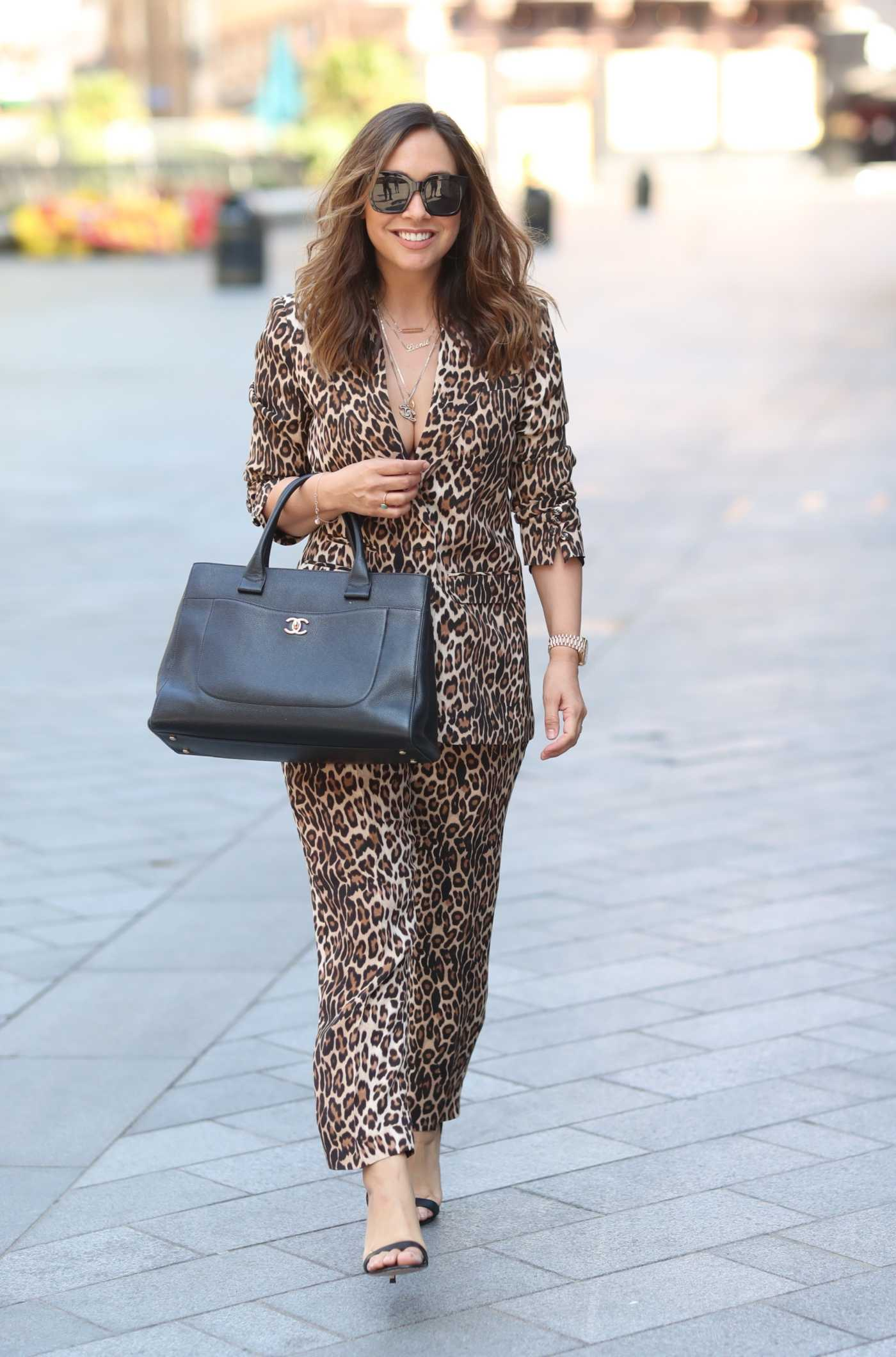 Myleene Klass in a Leopard Print Trouser Suit Arrives at the Global Studios in London 05/21/2020