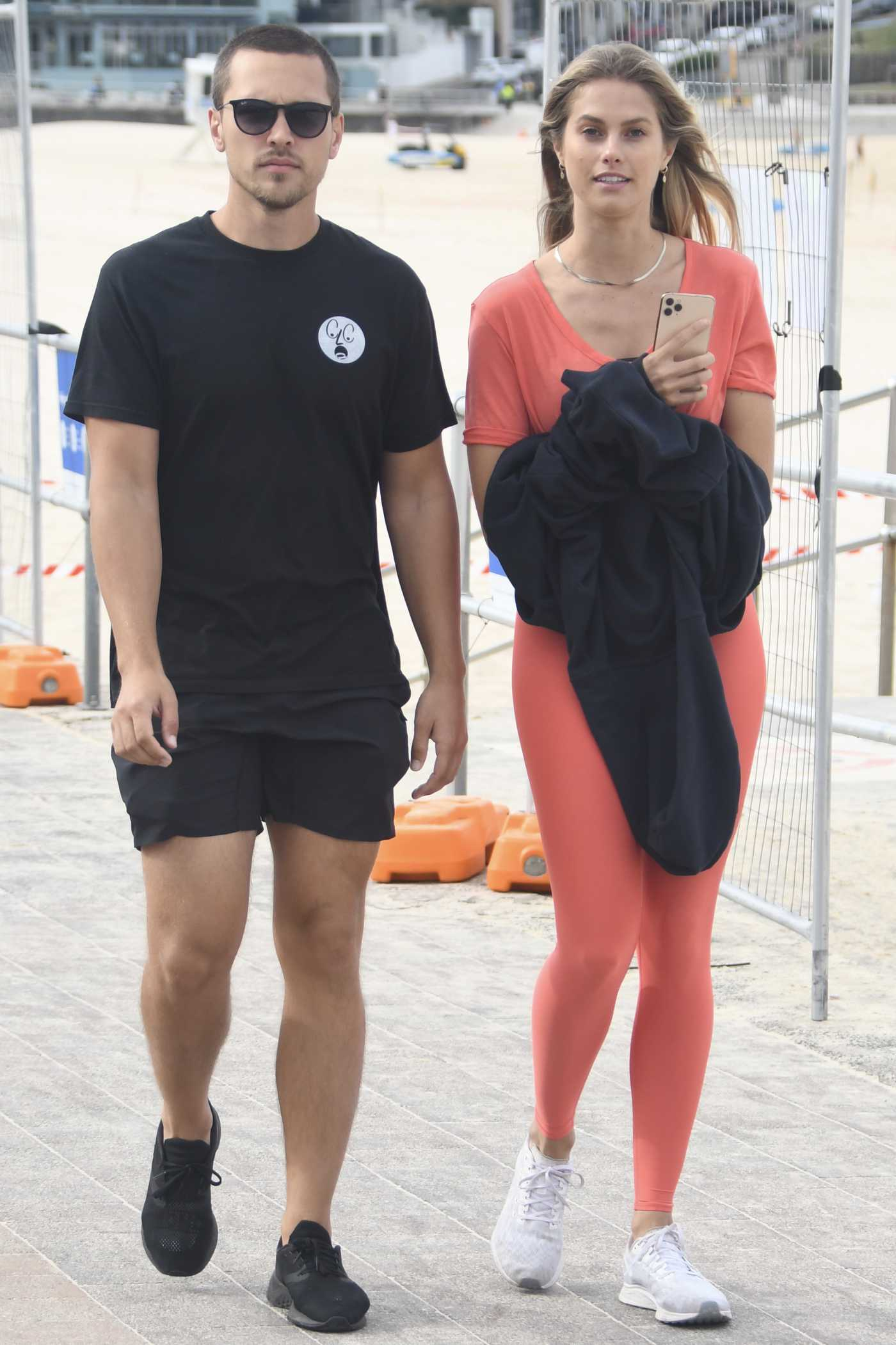 Natalie Roser in a Red Leggings Was Seen Out with Her Boyfriend Harley Bonner in Bondi Beach 05/13/2020