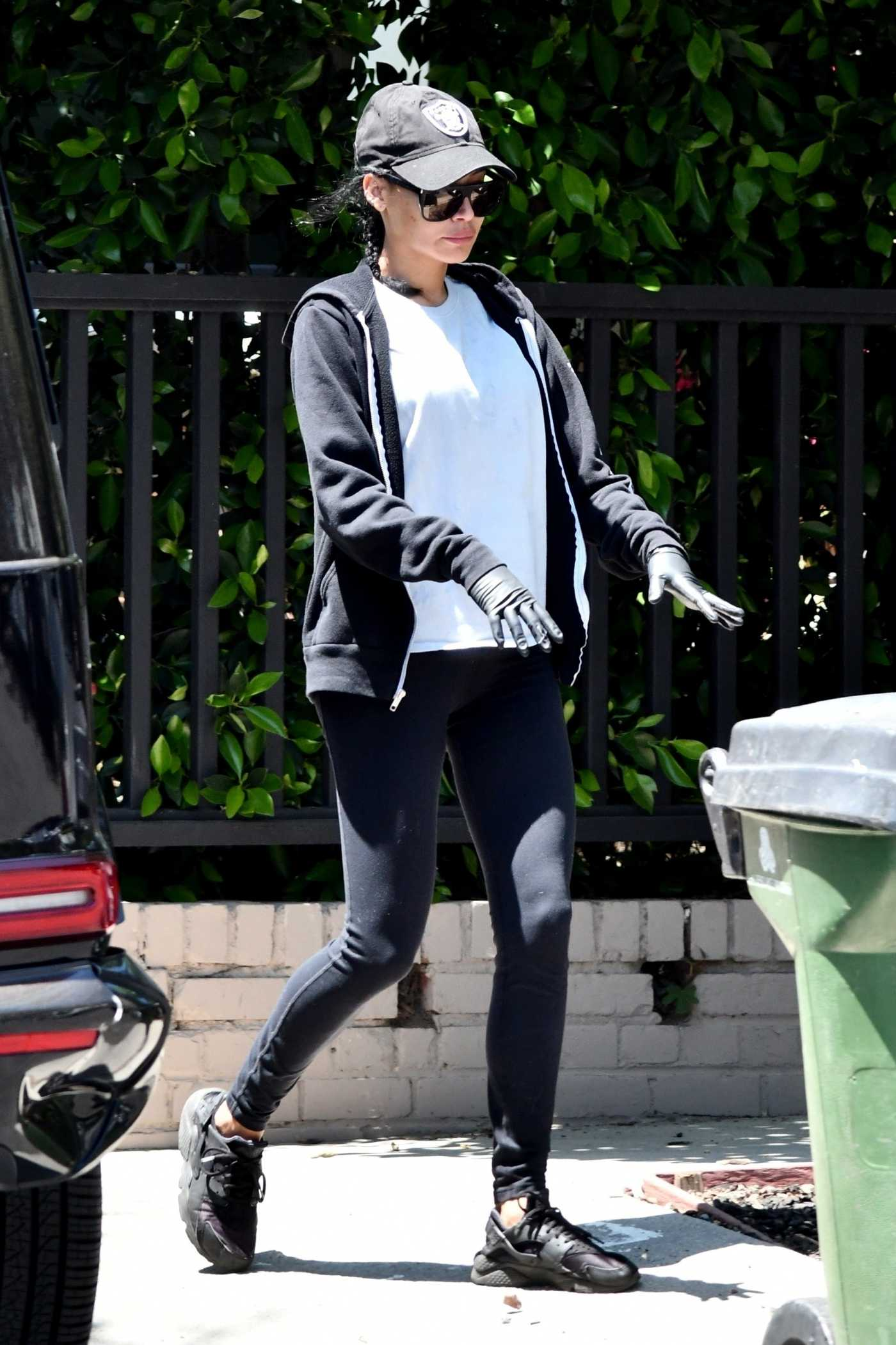 Naya Rivera in a Black Sneakers Steps Out to Grab Her Trash Cans in Los Feliz 05/02/2020