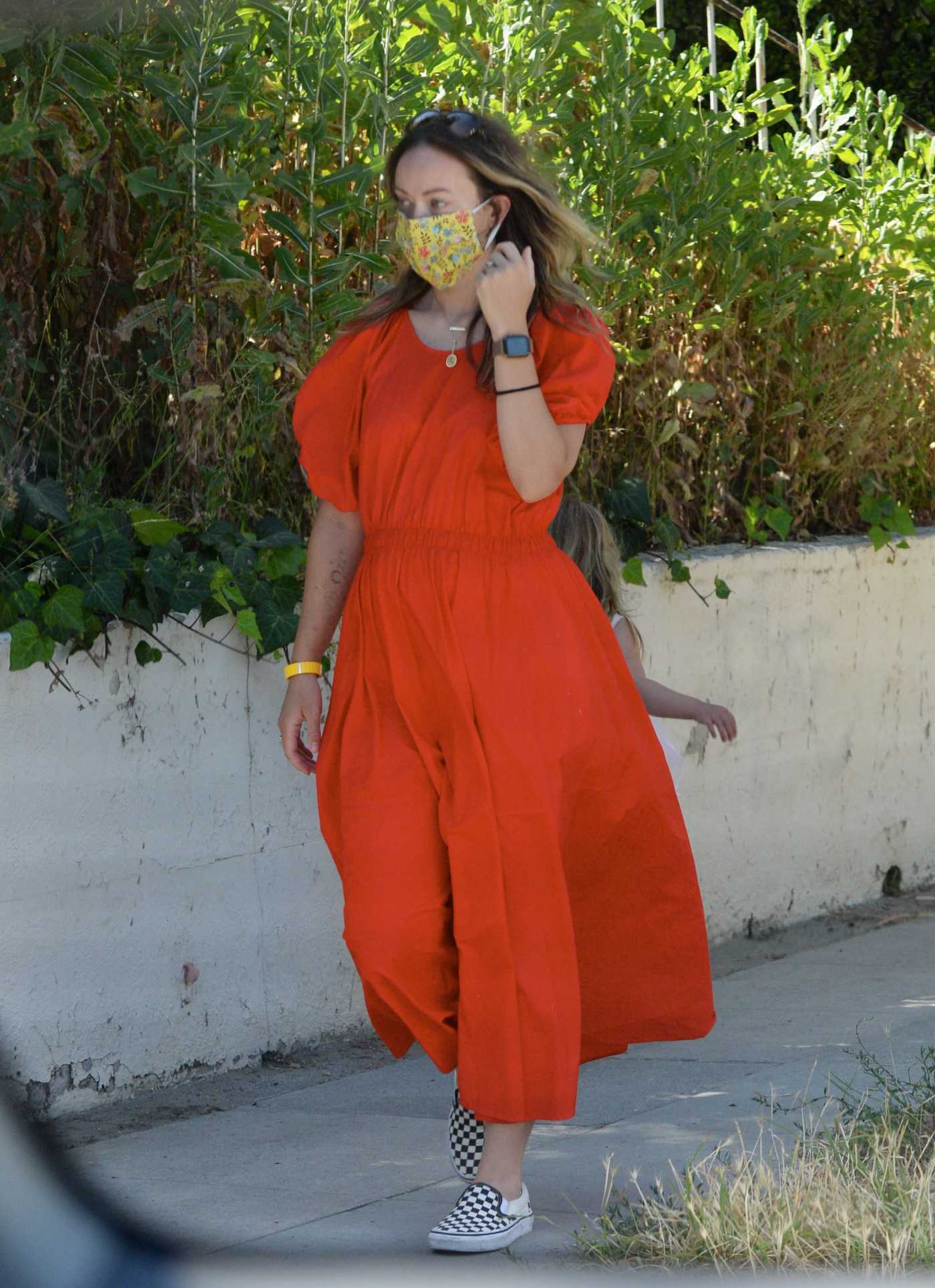 Olivia Wilde in a Red Dress Was Seen Out in Los Angeles 05/18/2020