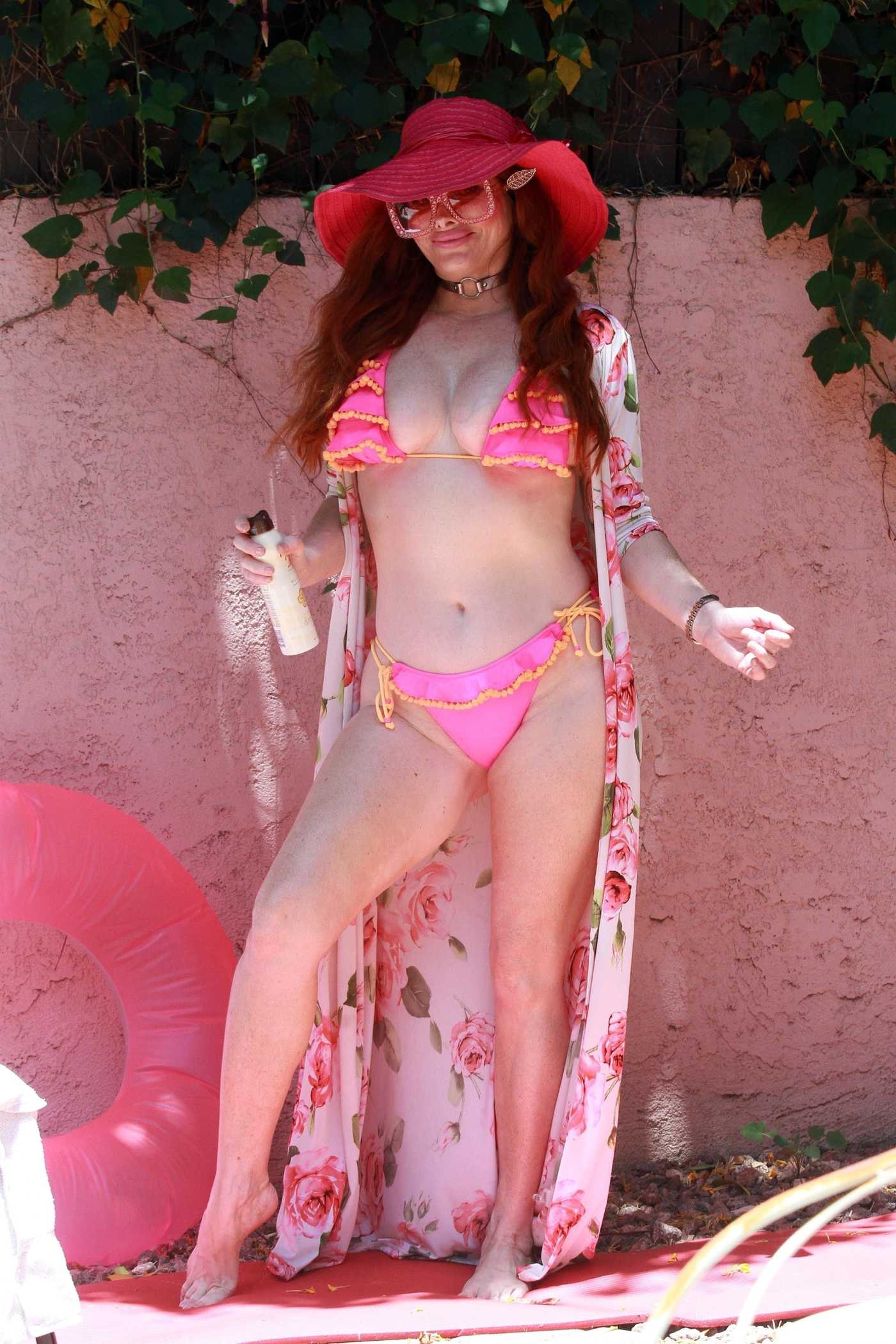 Phoebe Price in a Pink Bikini by the Poolside in Los Angeles 05/24/2020