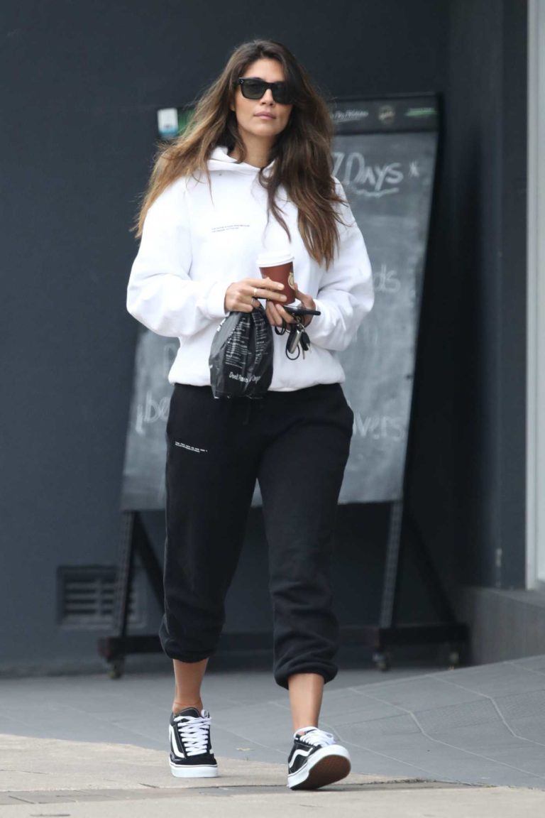 Pia Miller in a White Hoody