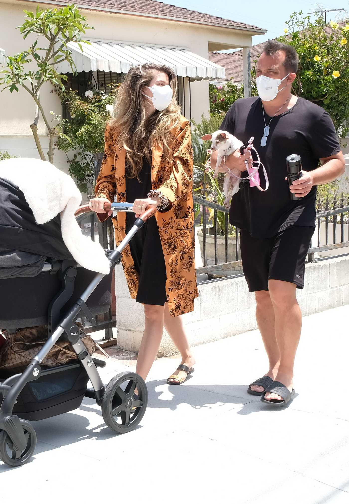 Rachel McCord in a Protective Mask Was Seen Out with Her Newborn Son Jude and Husband Rick Schirmer in Los Angeles 05/27/2020