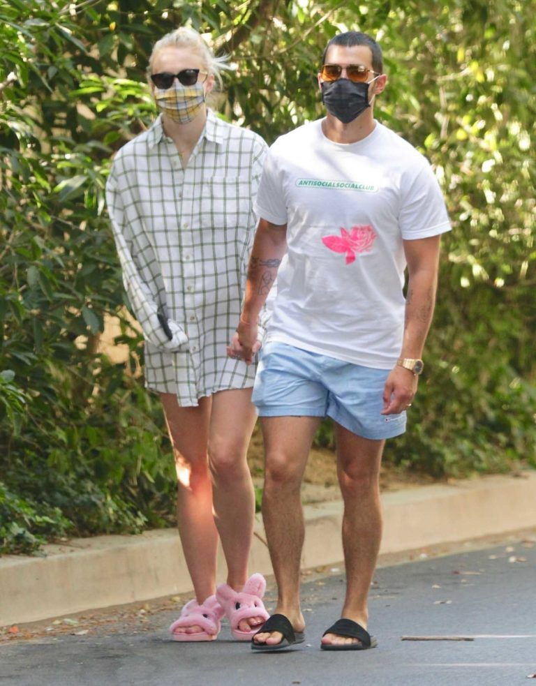 Sophie Turner in a Protective Mask