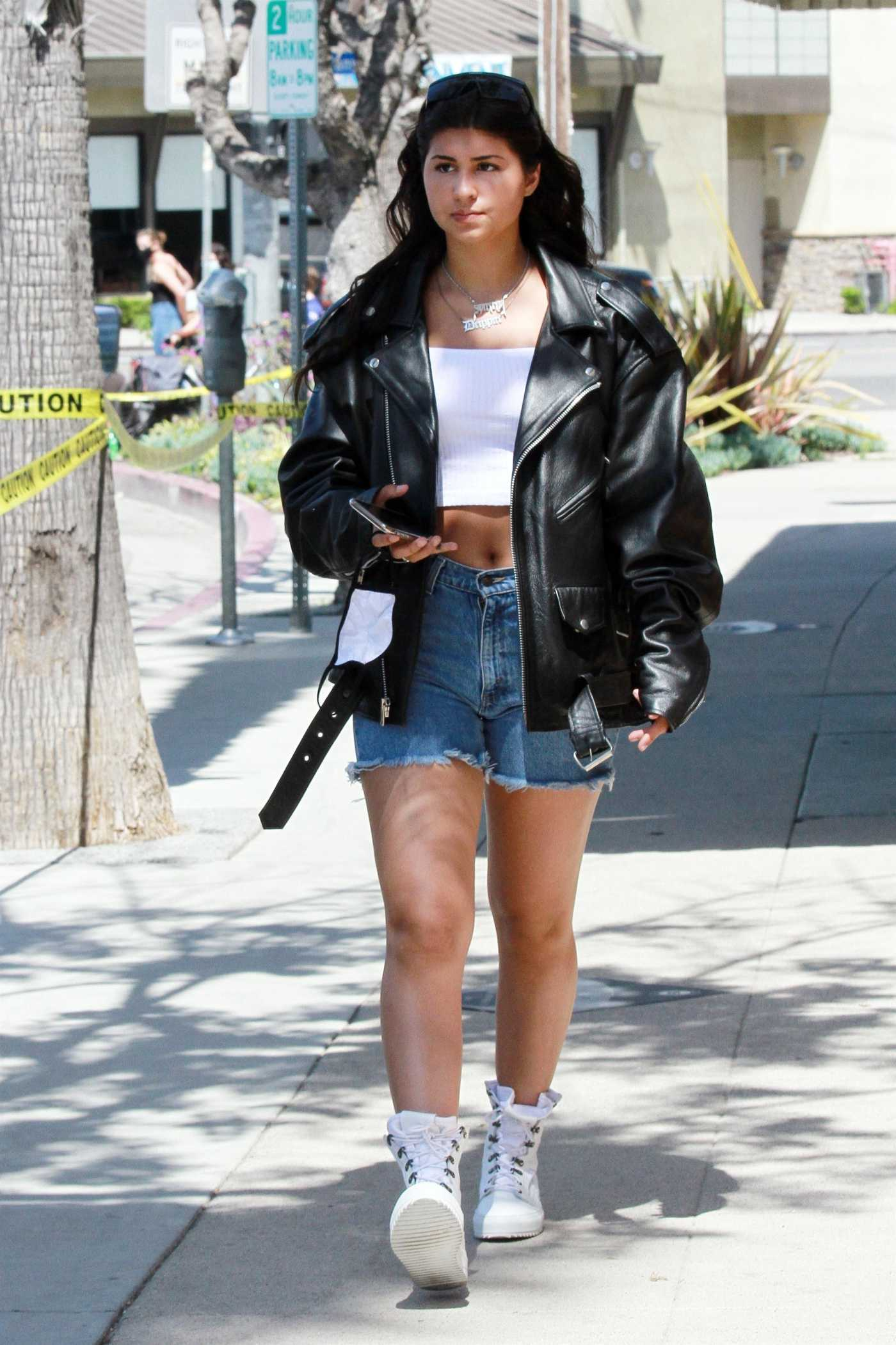 Sunny Malouf in a Black Leather Jacket Was Seen Out in Los Angeles 05/03/2020