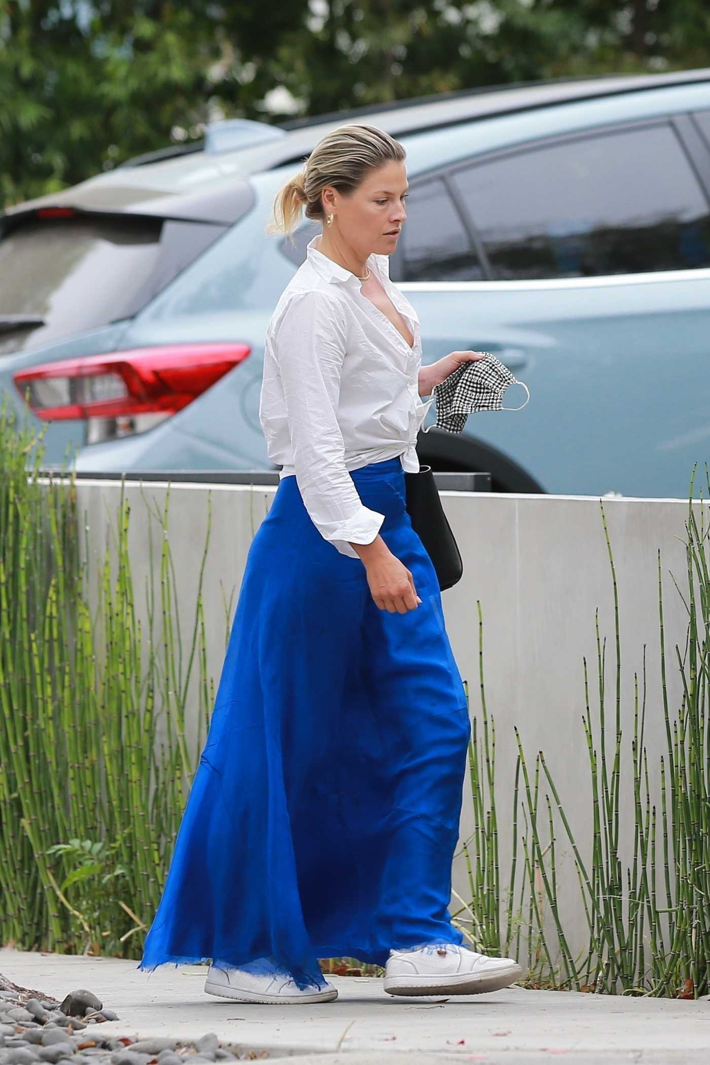 Ali Larter in a Blue Skirt Goes Shopping in Hollywood 06/18/2020