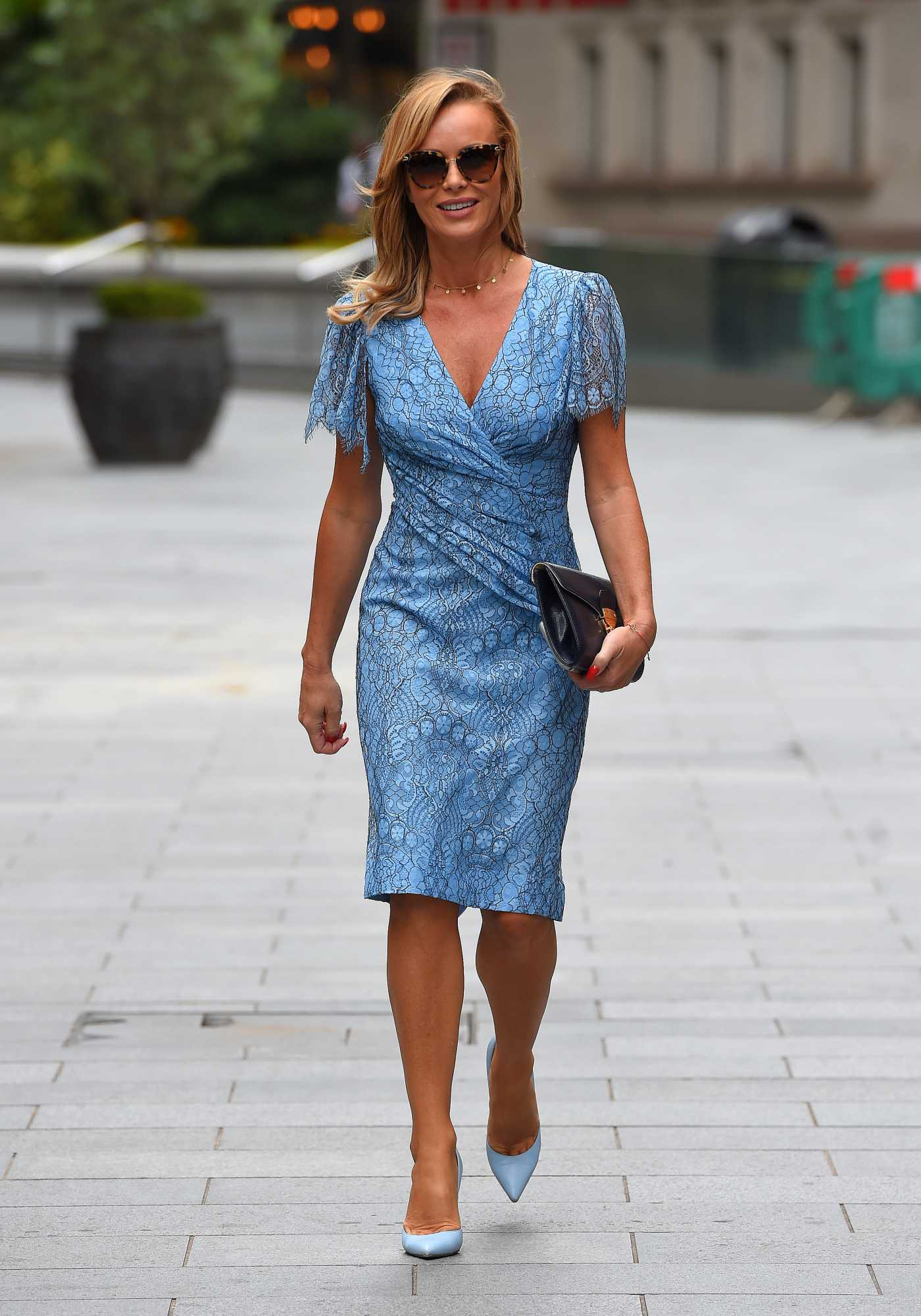Amanda Holden in a Blue Dress Leaves the Heart Radio Studios in London 06/29/2020