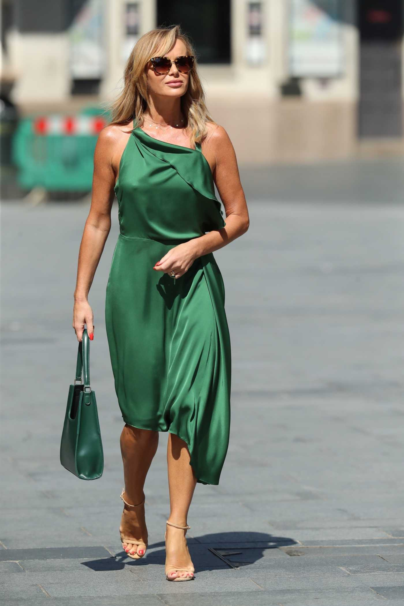 Amanda Holden in a Green Flowing Dress Was Seen Out in London 06/26/2020